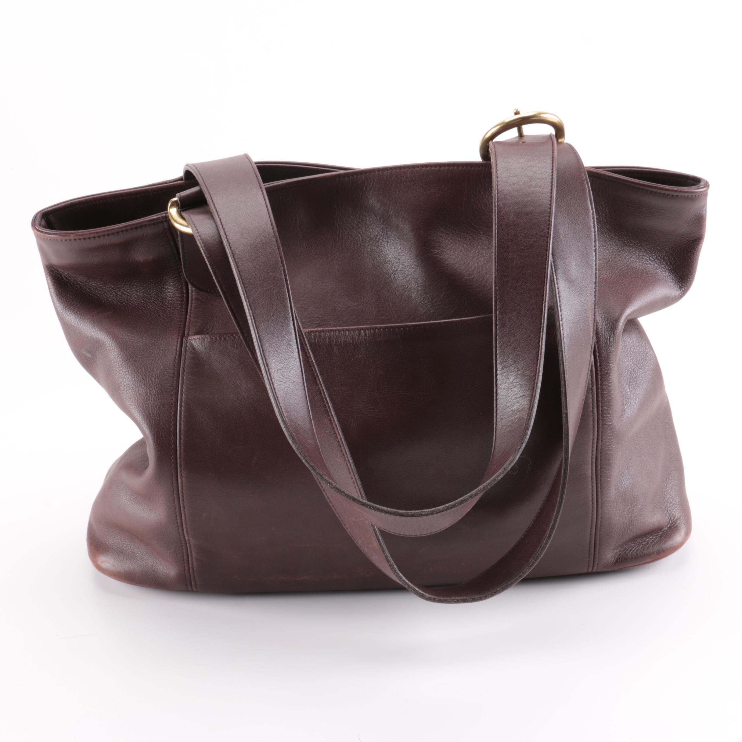 Vintage Coach Brown Leather Tote Bag