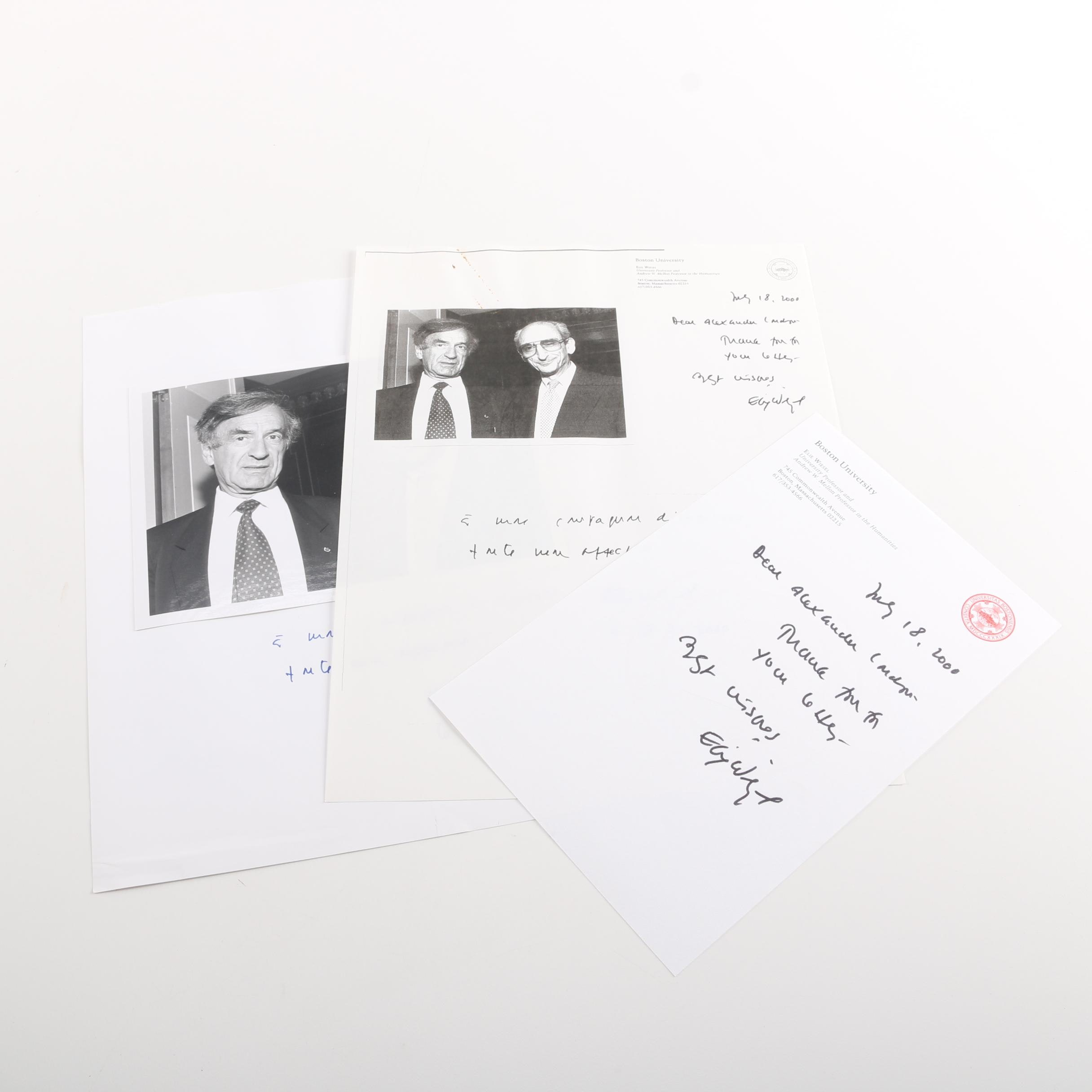 Signed Elie Wiesel Inscriptions with Photograph