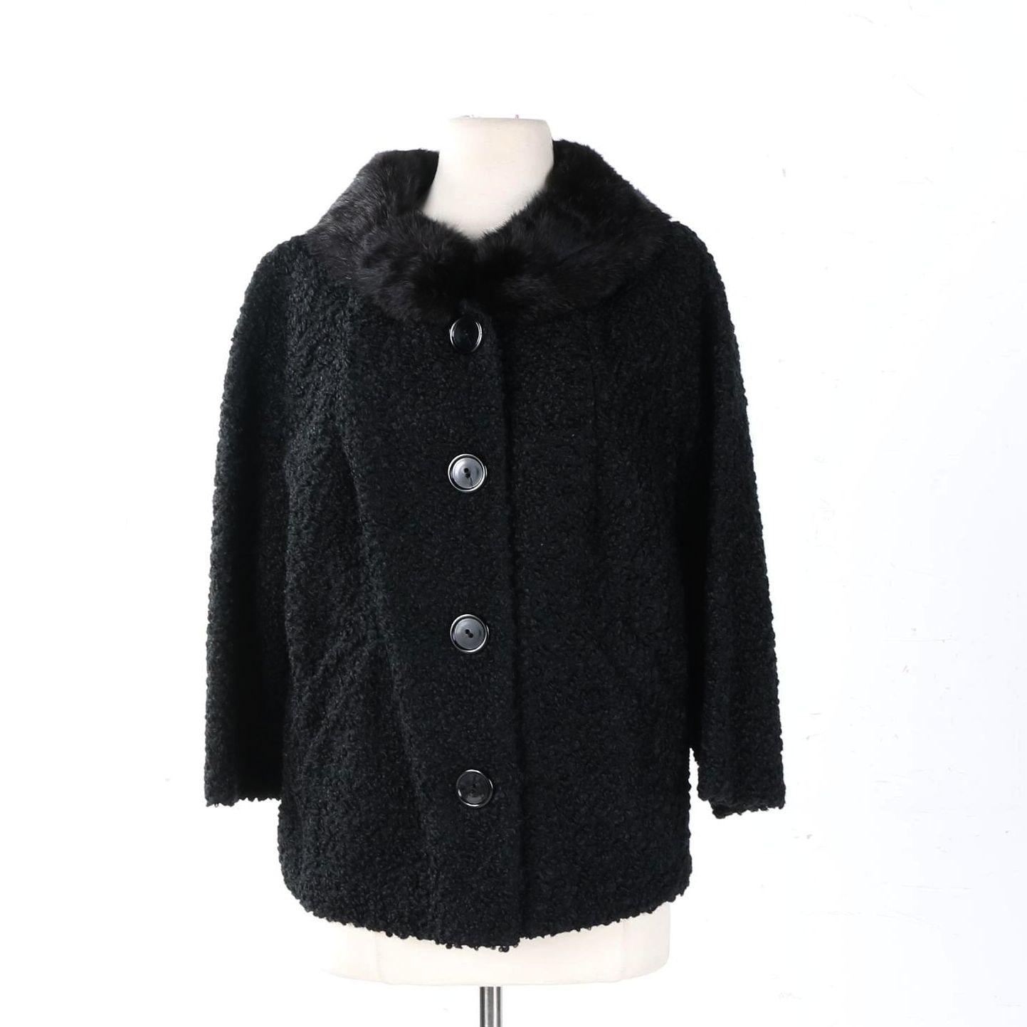 Vintage Persian Lamb Coat with Rabbit Fur Collar