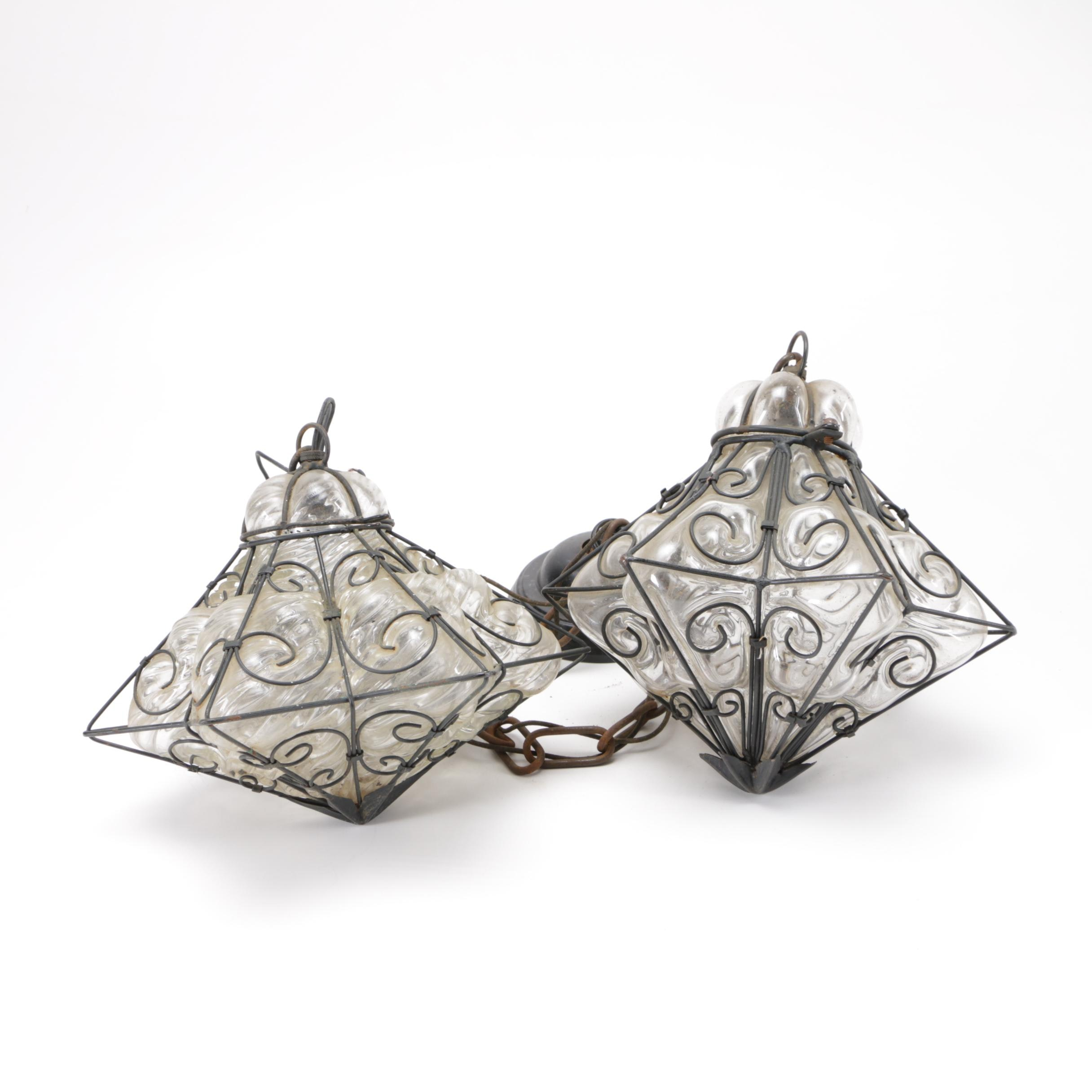 Clear Glass and Wrought Iron Pendent Lamps