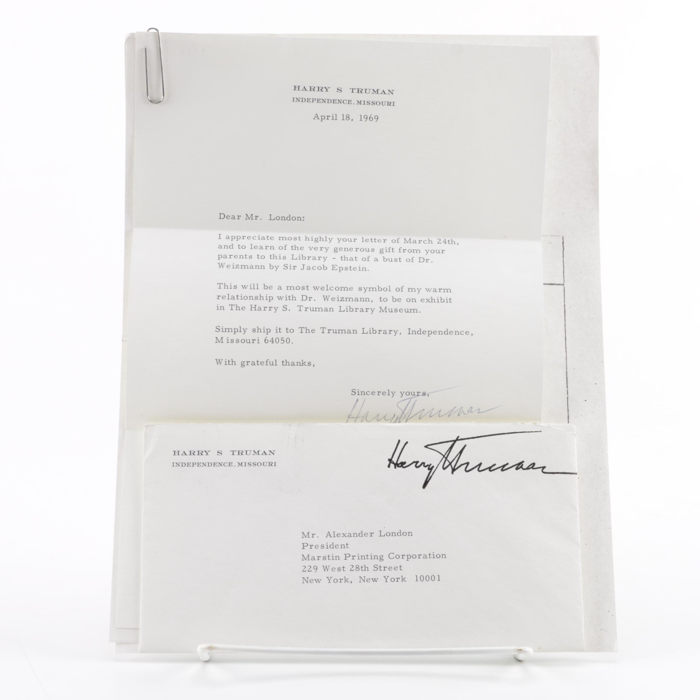 1969 Harry S. Truman Signed Letter and Envelope
