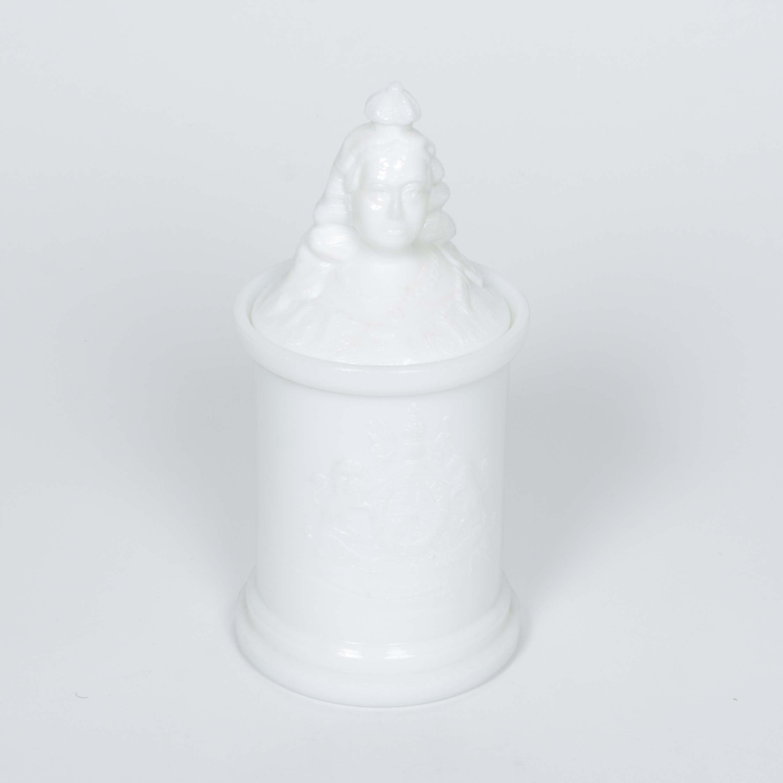 Queen Victoria Milk Glass Covered Cheroot Jar