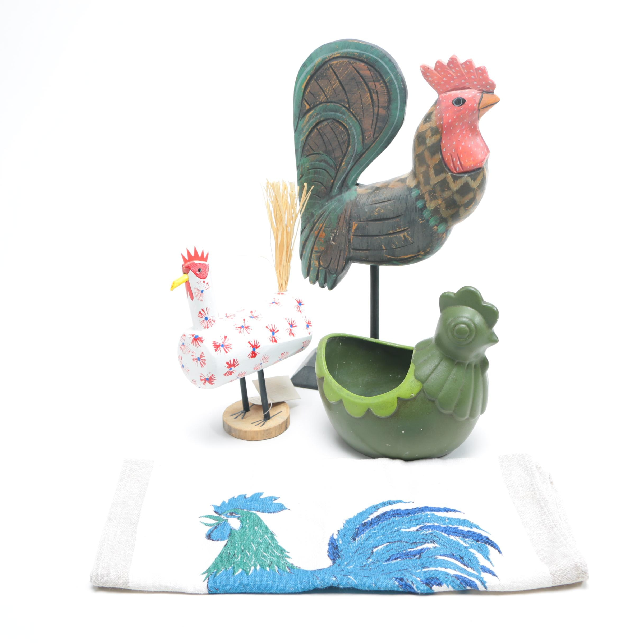 Rooster-Themed Collectibles Including Navajo Folk Art