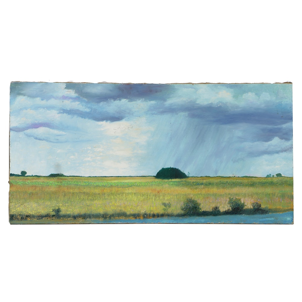 Oil Painting on Linen Canvas Rural Landscape with Rain Clouds