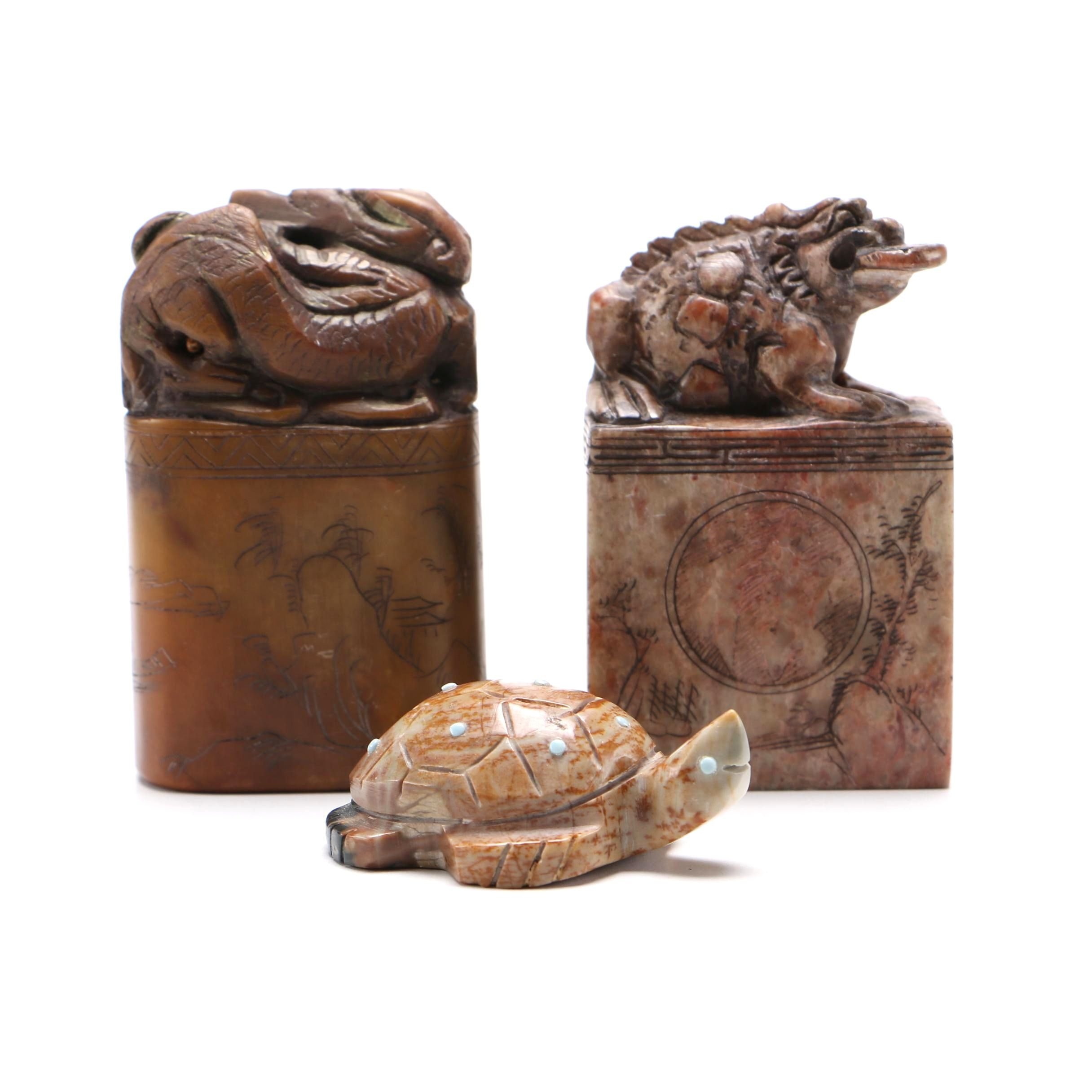 Assortment of Chinese Soapstone Seals and Figurines