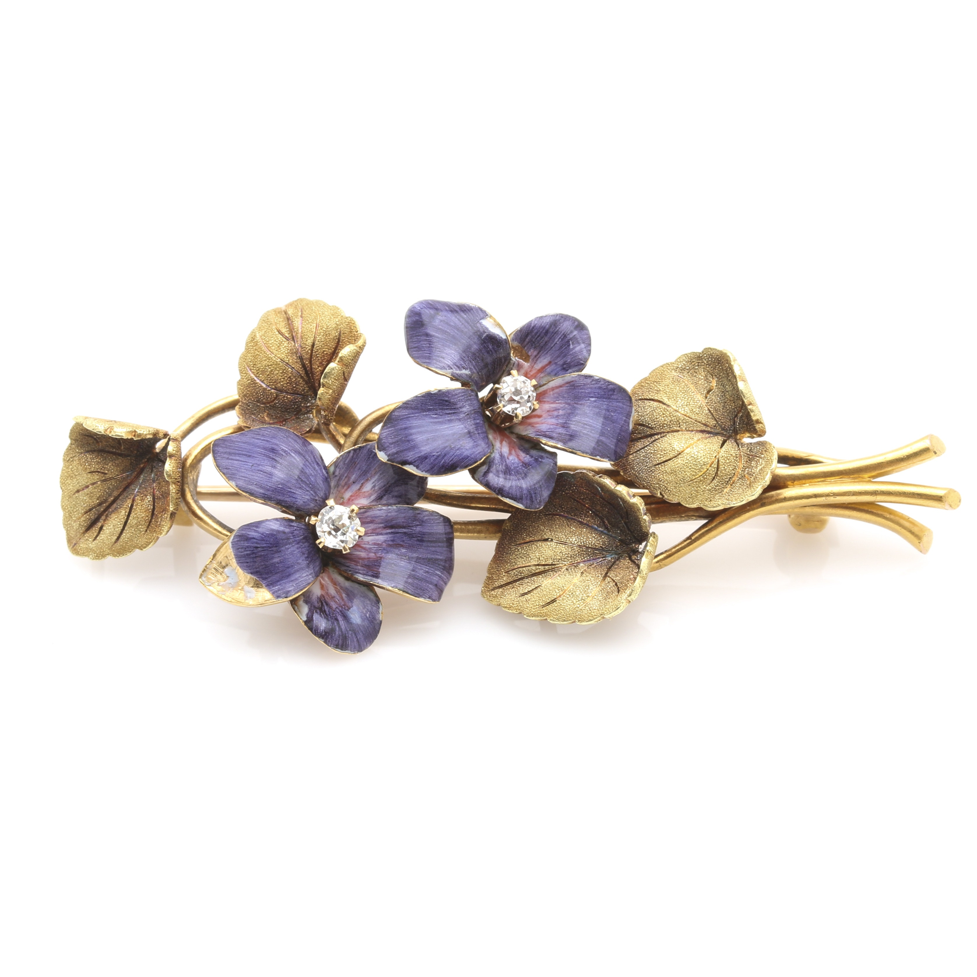 Circa 1930s 18K Yellow Gold Diamond and Enamel Bouquet Brooch