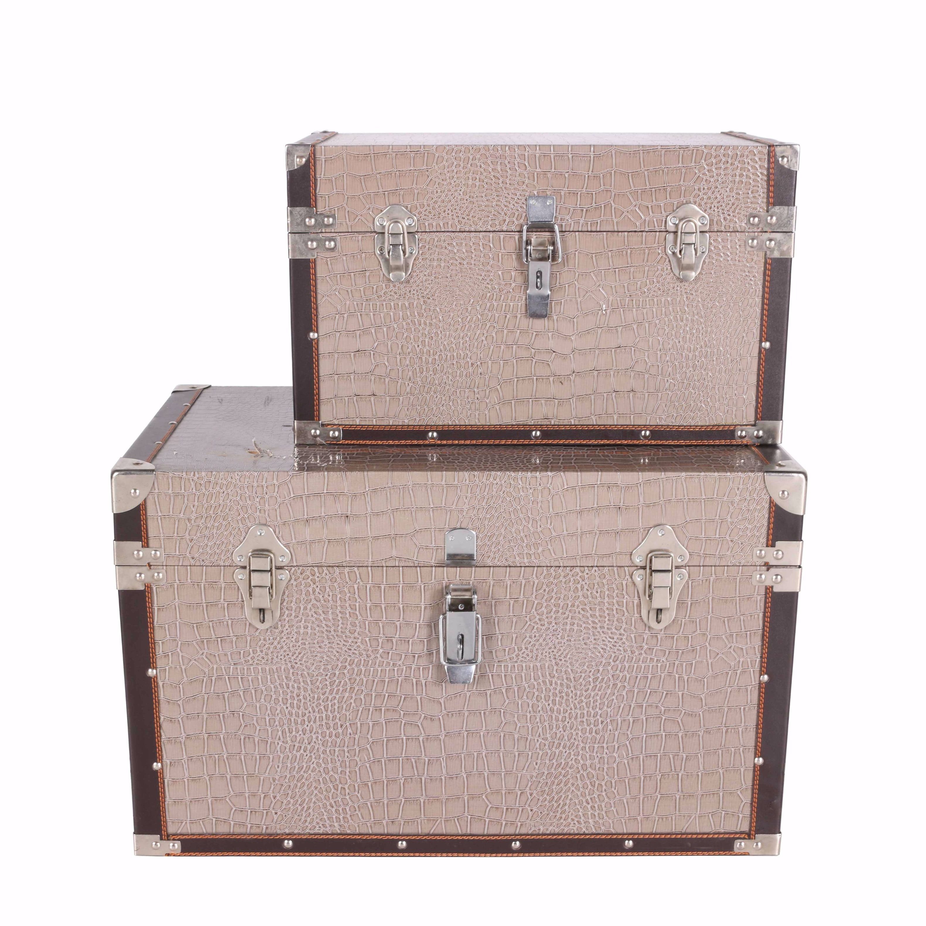 Faux Leather Gray and Brown Steamer Trunks