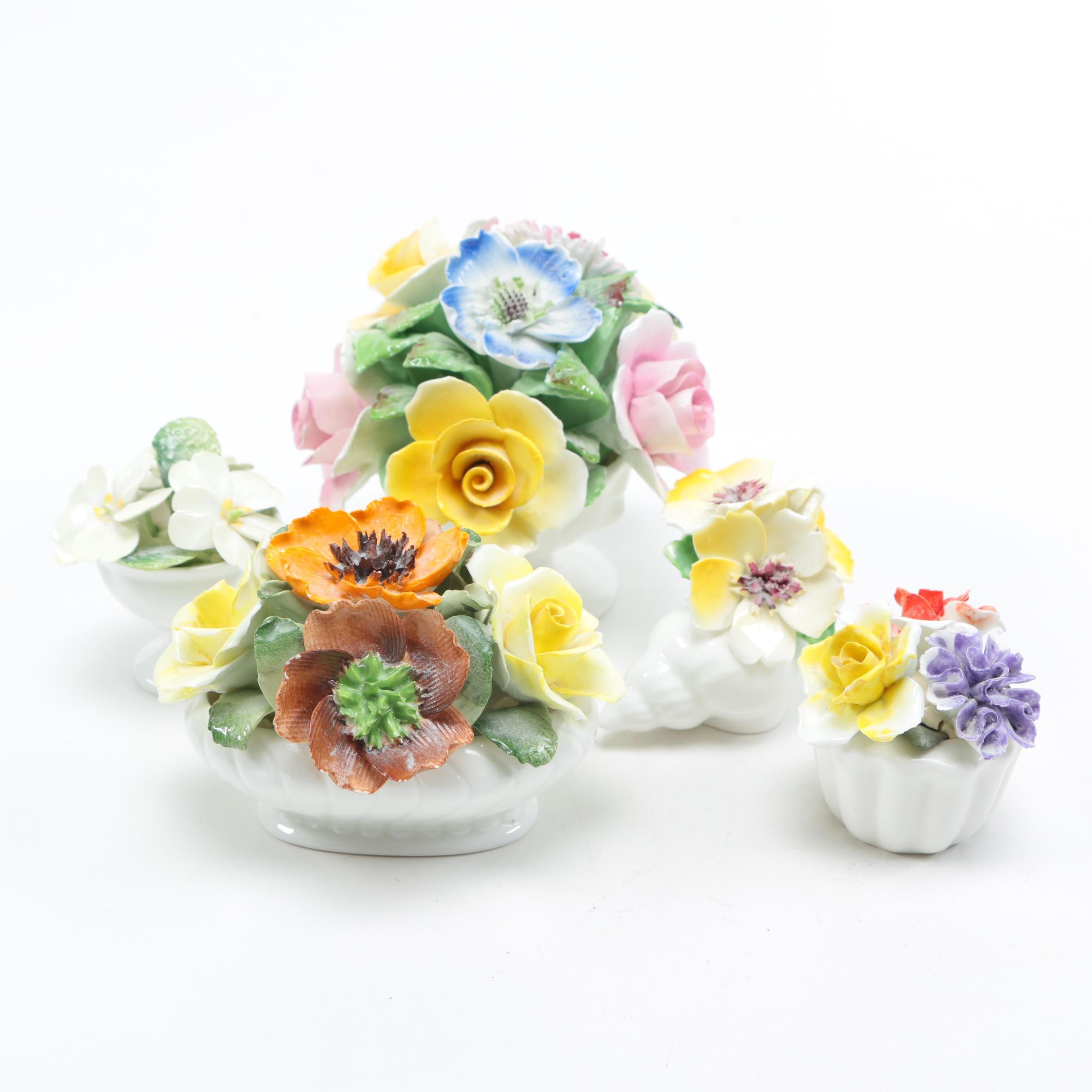 Vintage English Bone China Floral Baskets
