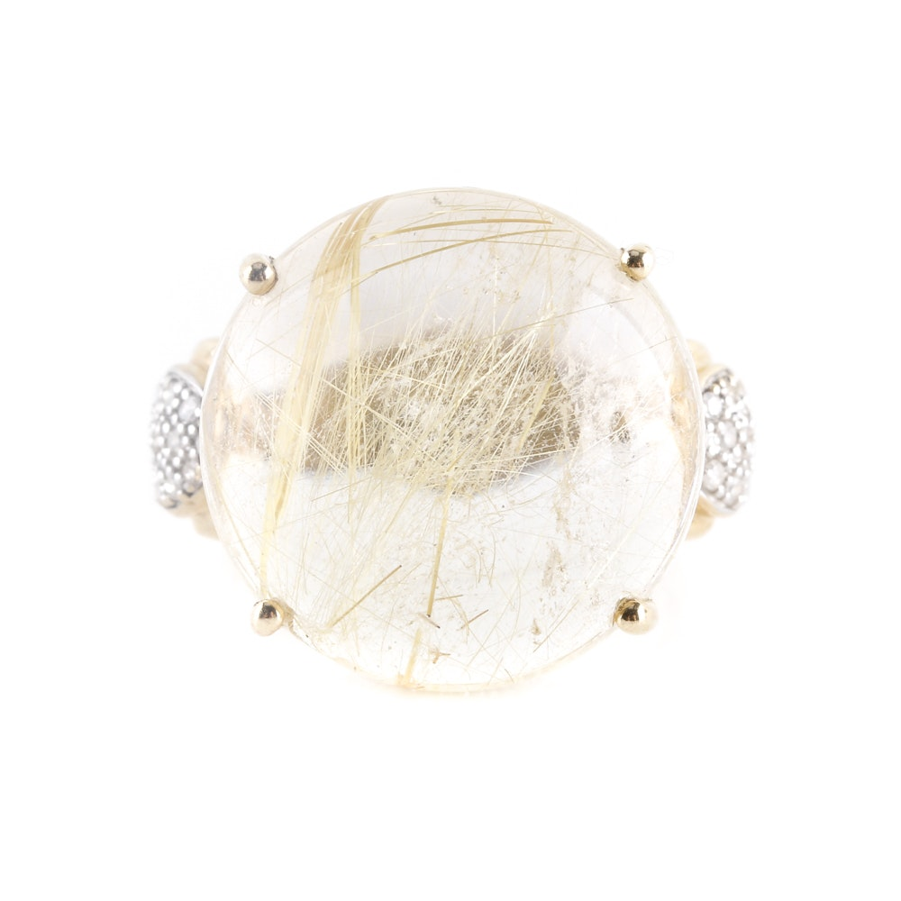 10K Yellow Gold 19.06 CTS Rutilated Quartz and Diamond Cocktail Ring