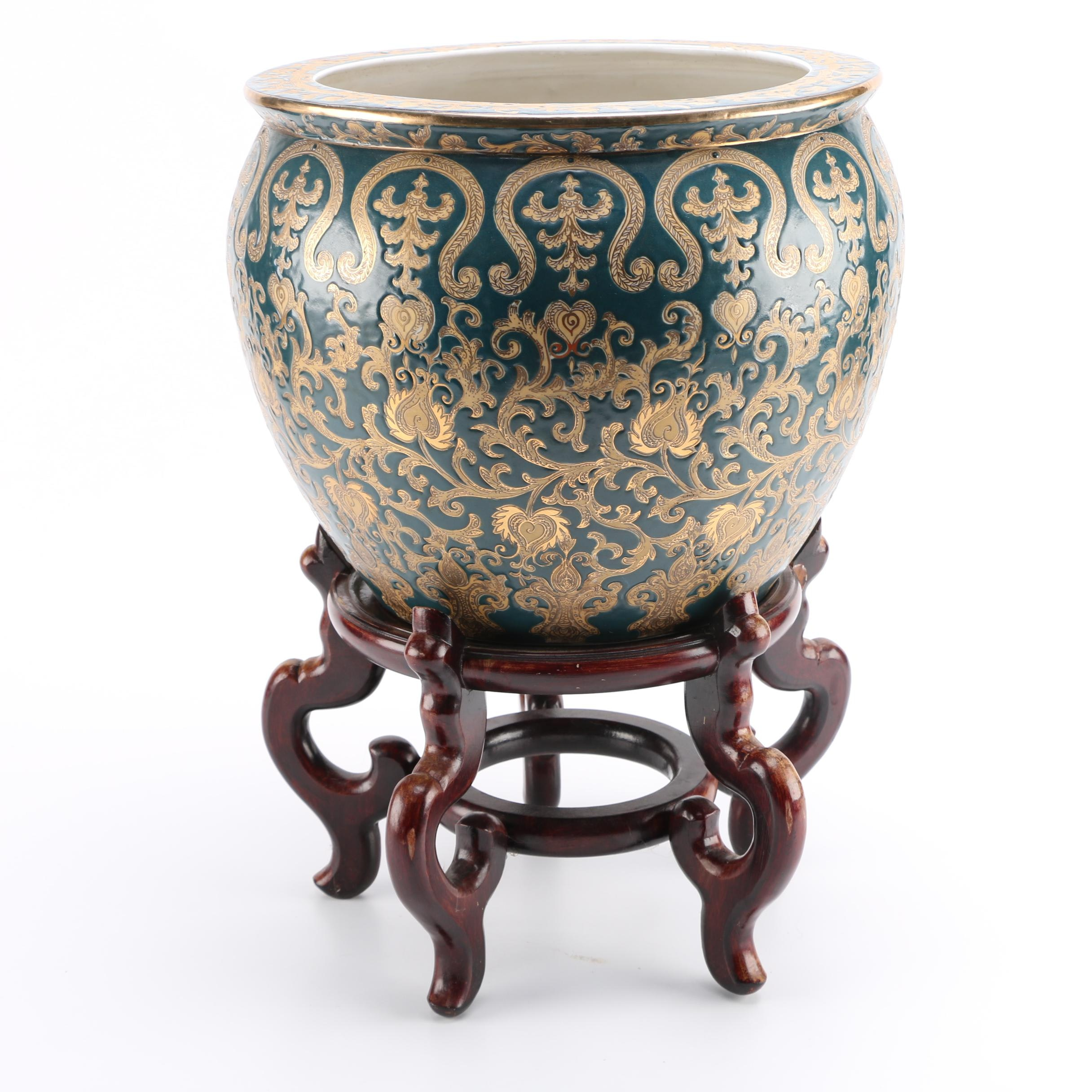 Aqua and Gold Tone Chinese Planter and Stand
