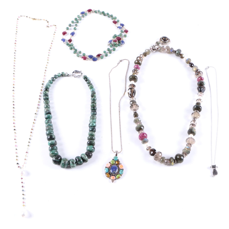 Necklaces Including a Cat Necklace With Brilliant Cut Diamonds