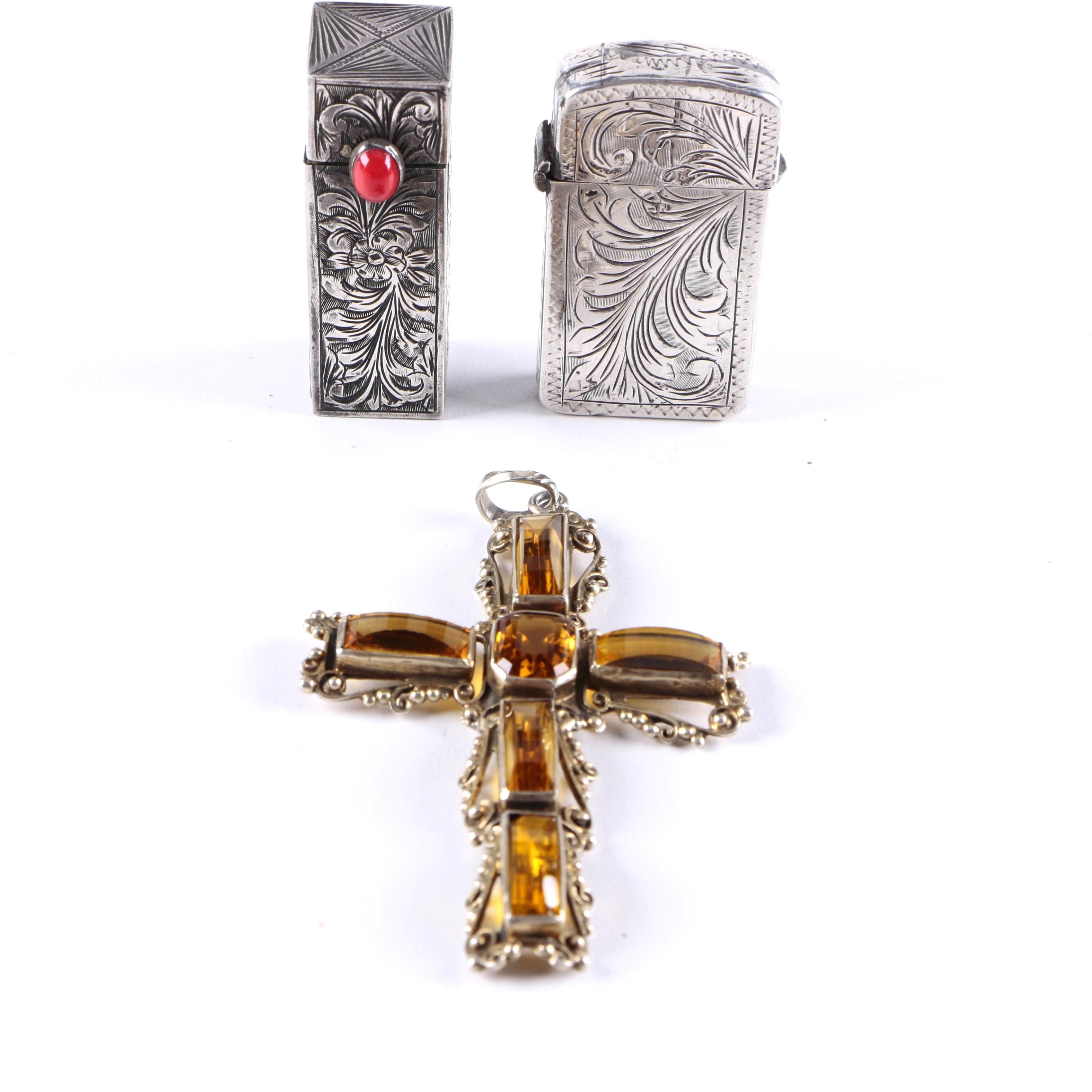 Sterling Silver Accessories Including a Cross Pendant