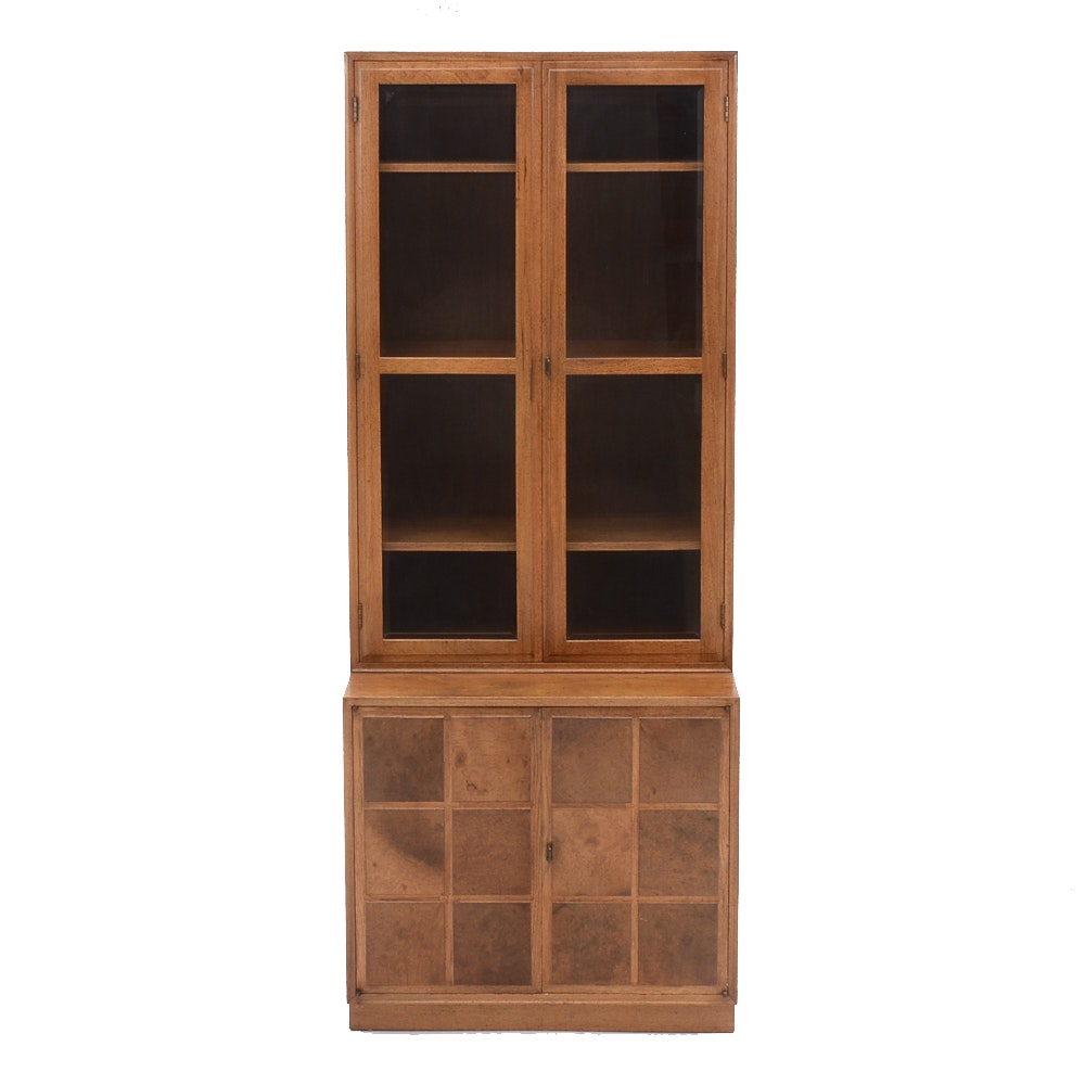 Mid-Century Pecan and Burled Cabinet-on-Cabinet