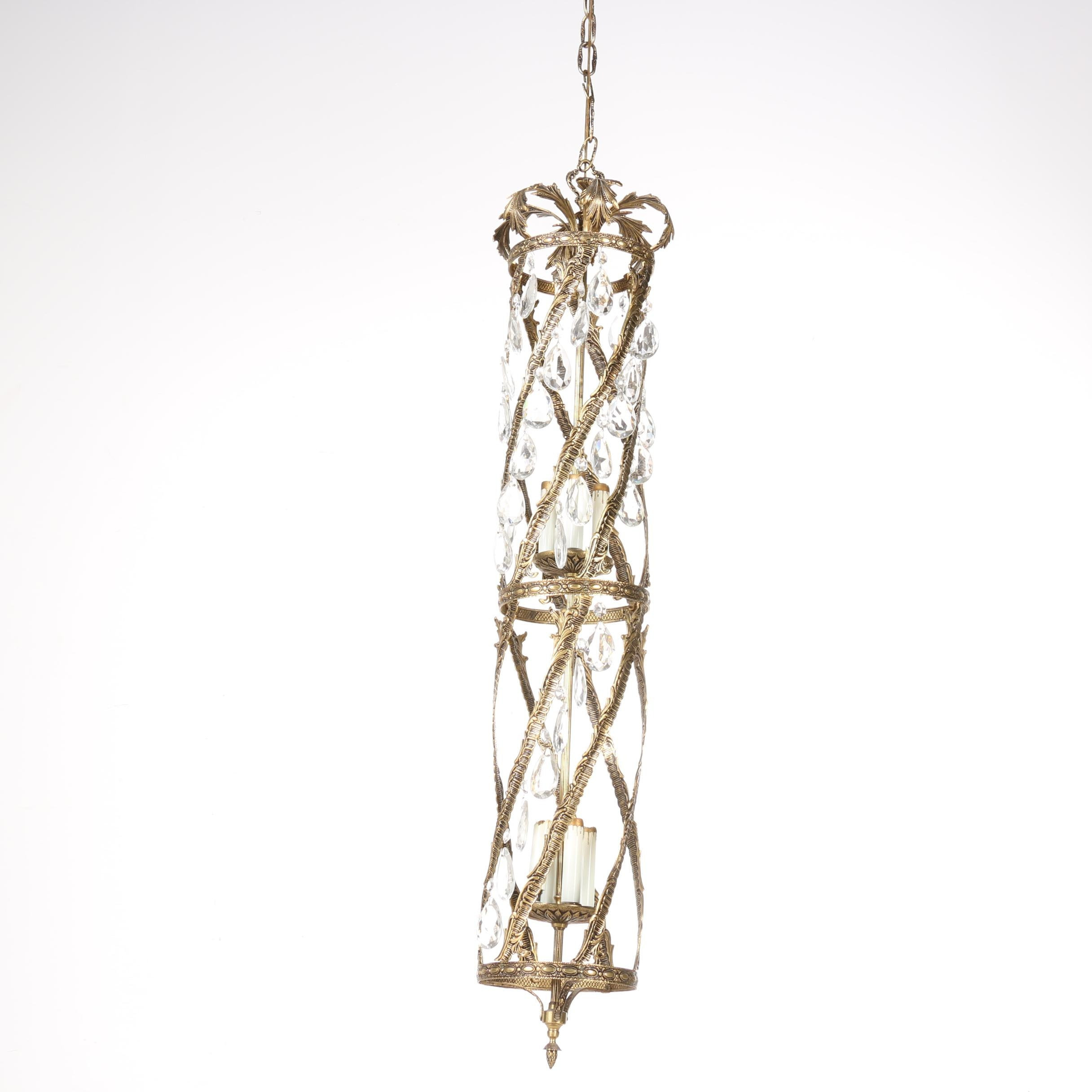 Brass and Glass Contemporary Chandelier
