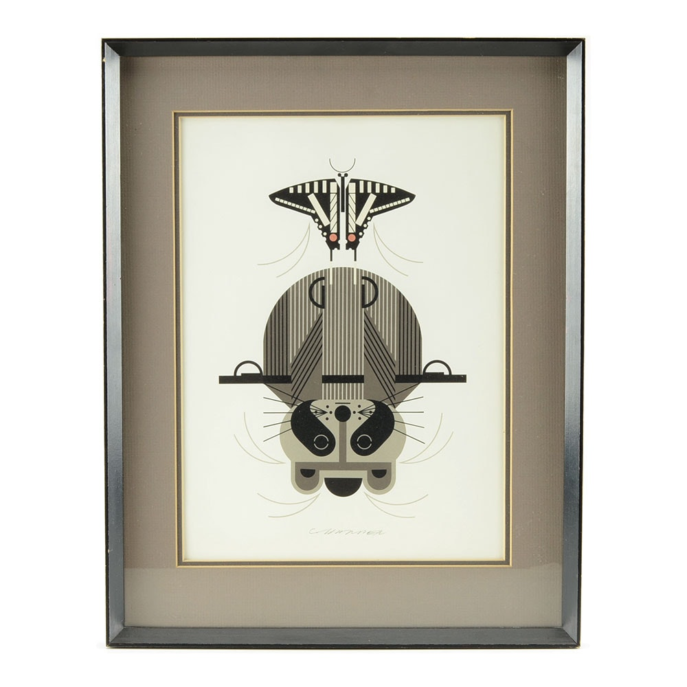 "Charley Harper Open Edition Lithograph ""Raccrobat"""