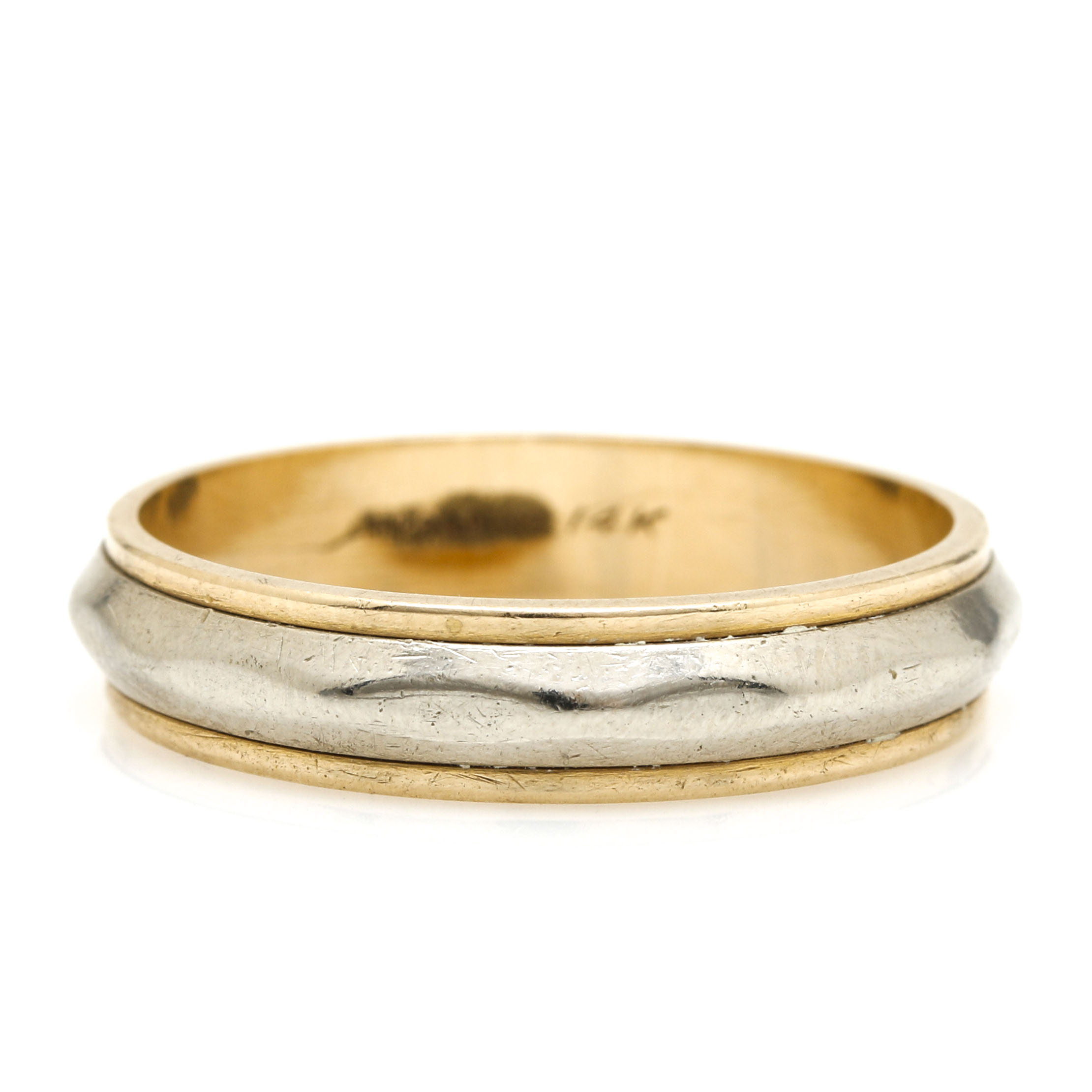 Rings O Bliss 14K Yellow and White Wedding Band EBTH