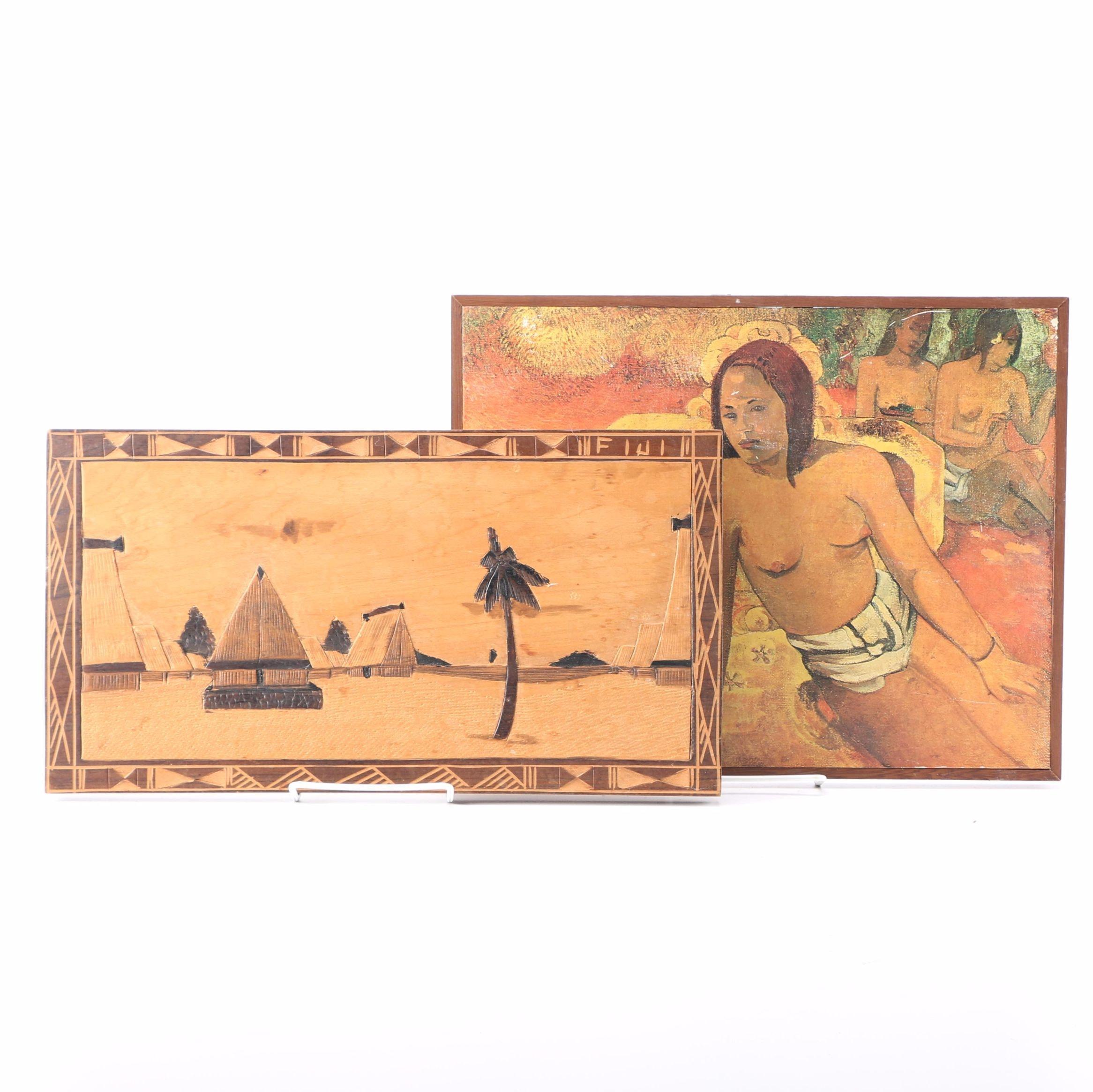 """Mika Wood Carving of Fiji and Offset Lithograph After Gaugin's """"Vairumati"""""""