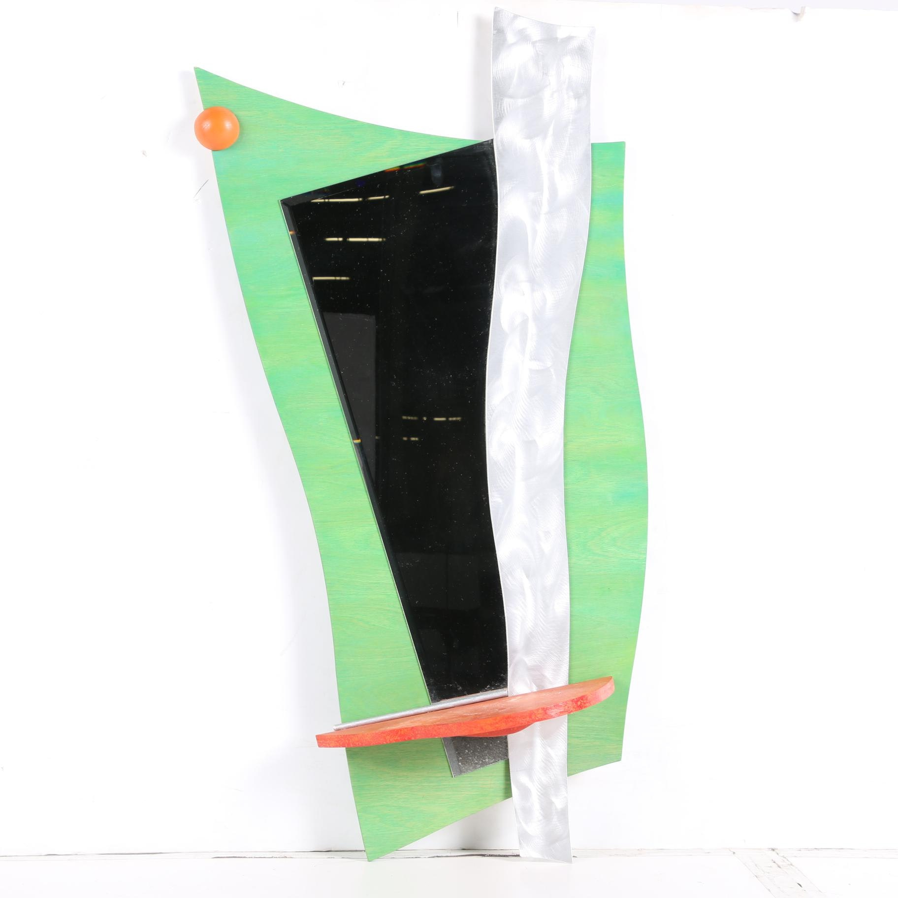 1980s Deco Revival Style Abstract Wall Hanging Mirror