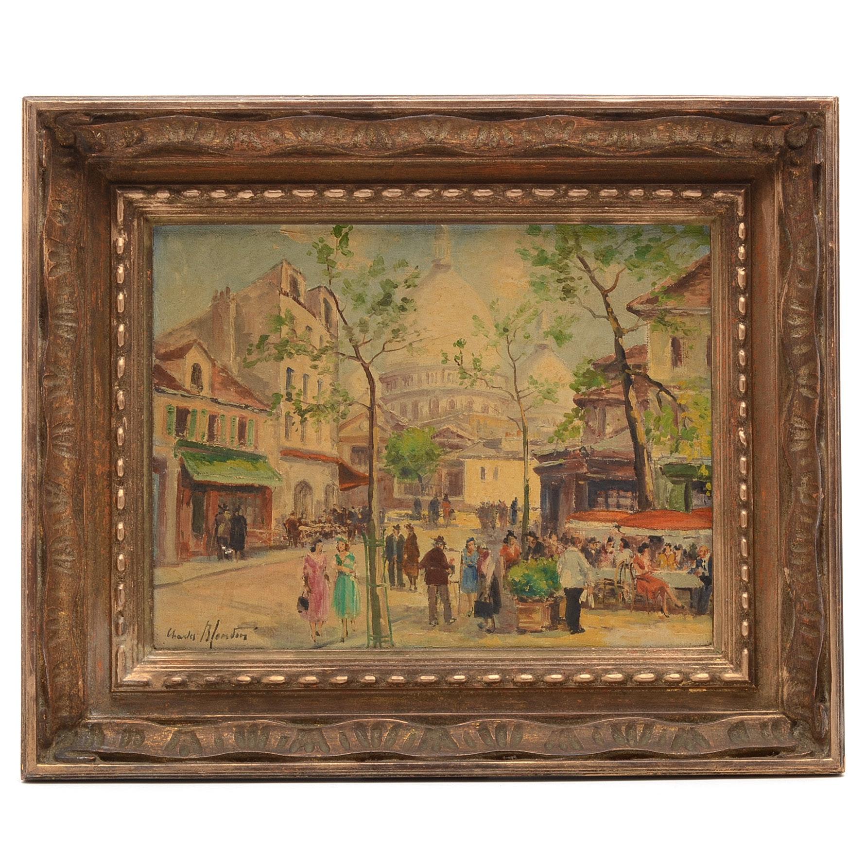 Charles Blondin Original Oil on Canvas of Parisian Street Scene