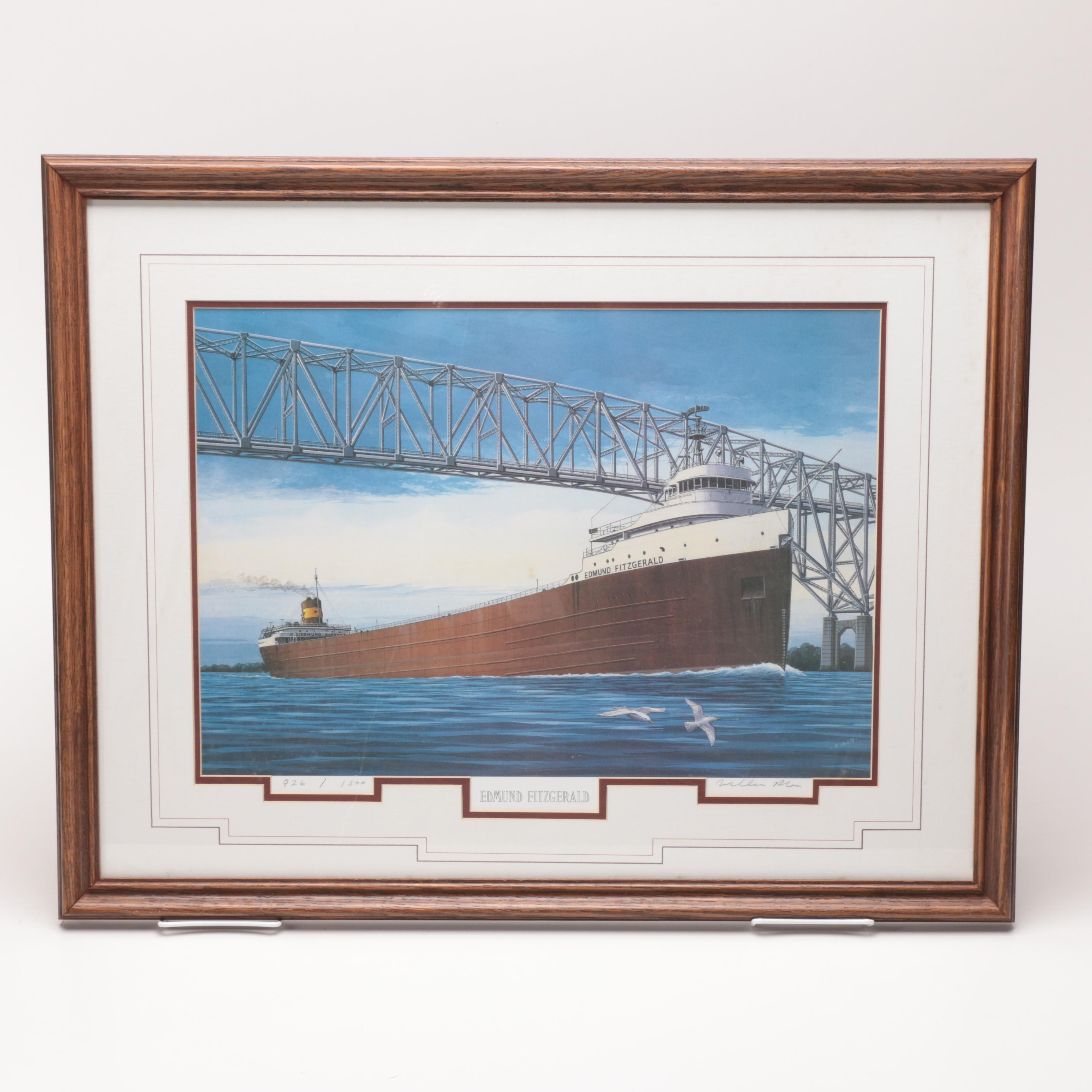 """Limited Edition Offset Lithograph After William Moss """"Edmund Fitzgerald"""""""