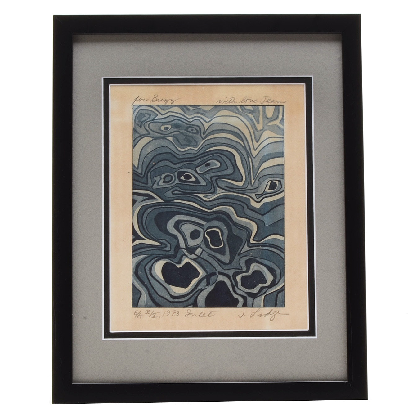 """Jean Lodge 1973 Signed Limited Edition Artist's Proof Aquatint Etching """"Inlet"""""""