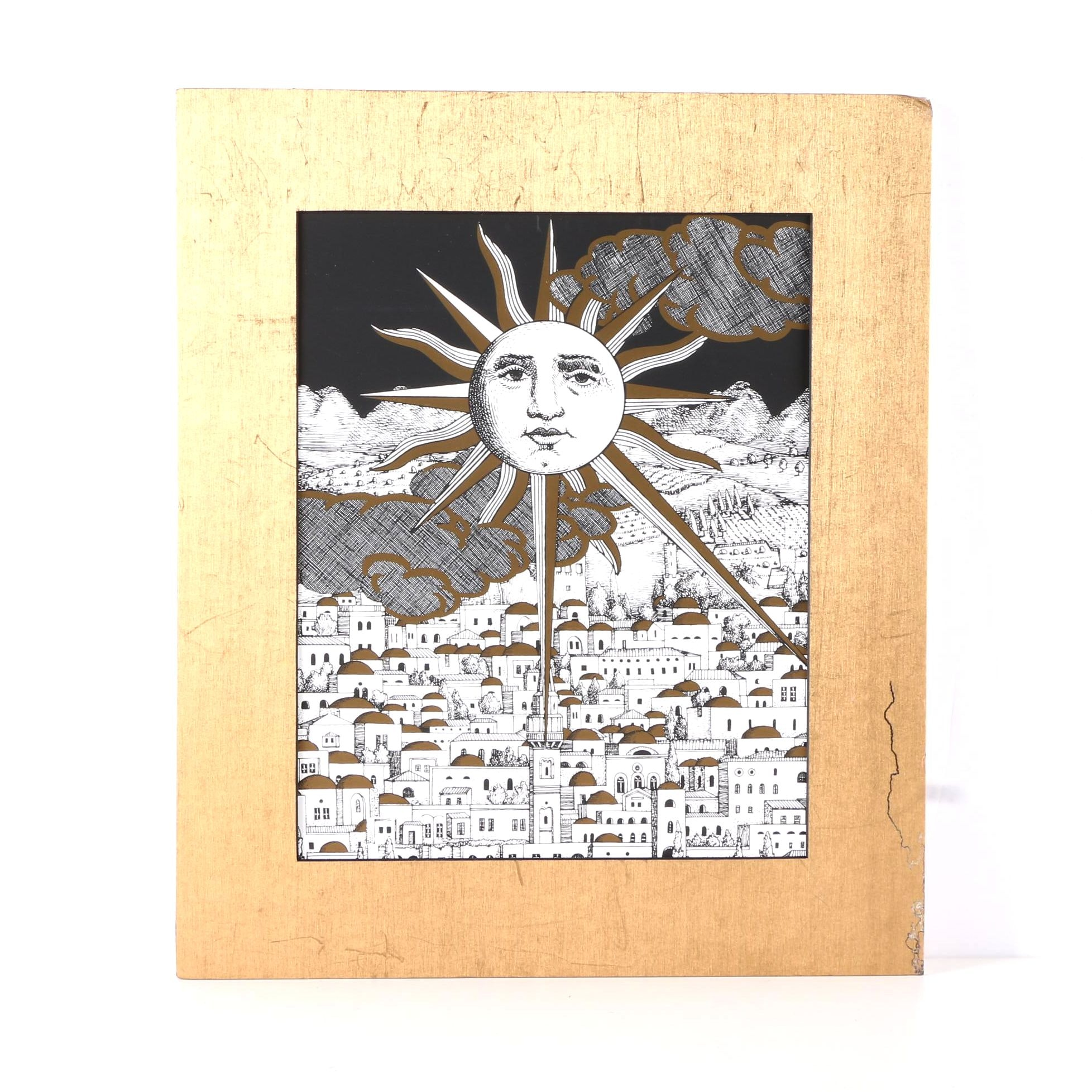 """Piero Fornasetti Serigraph on Paper """"Sole a Gerusalemme"""""""