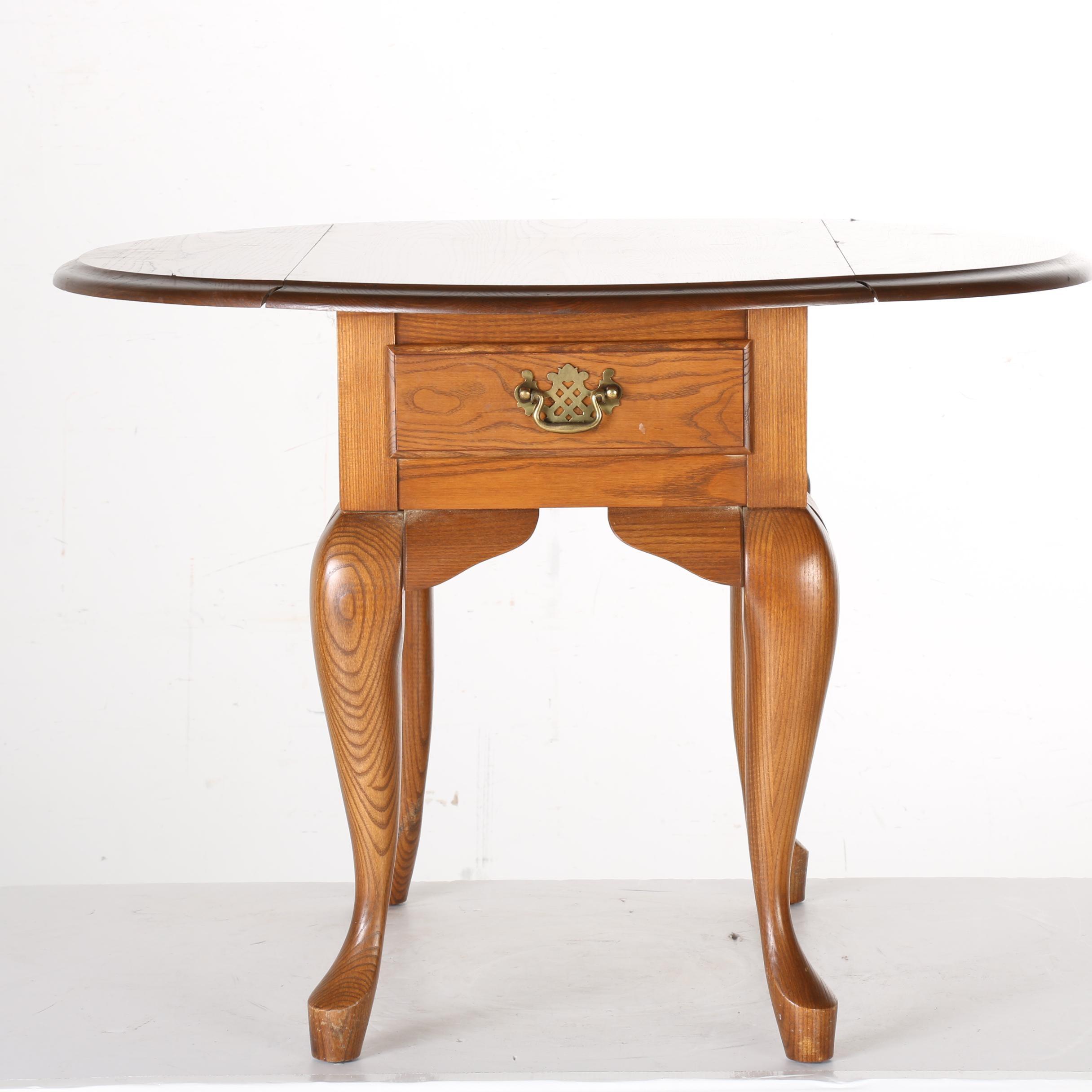 Queen Anne Style Oak Drop Leaf Side Table
