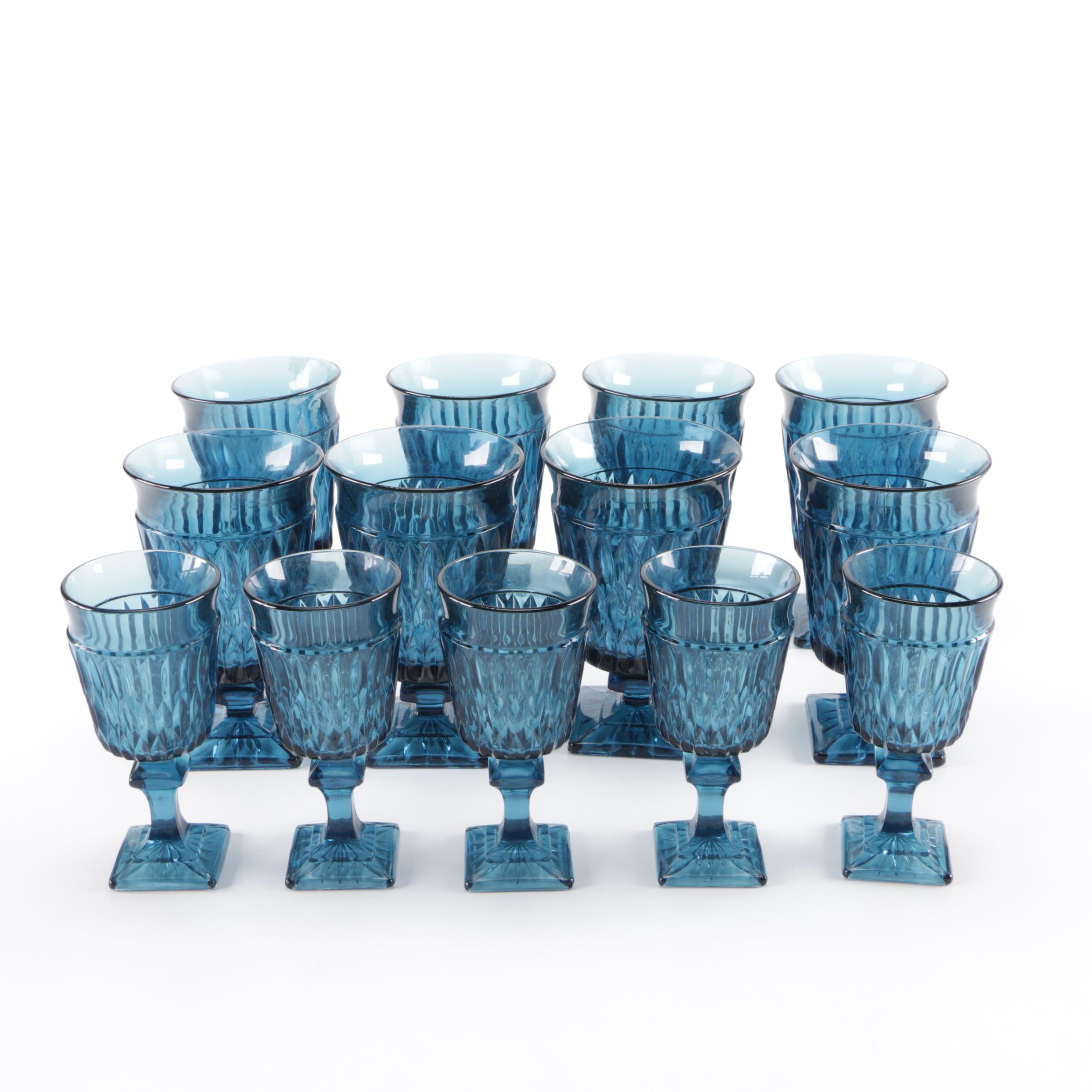 Vintage Blue Glass Stemware Set
