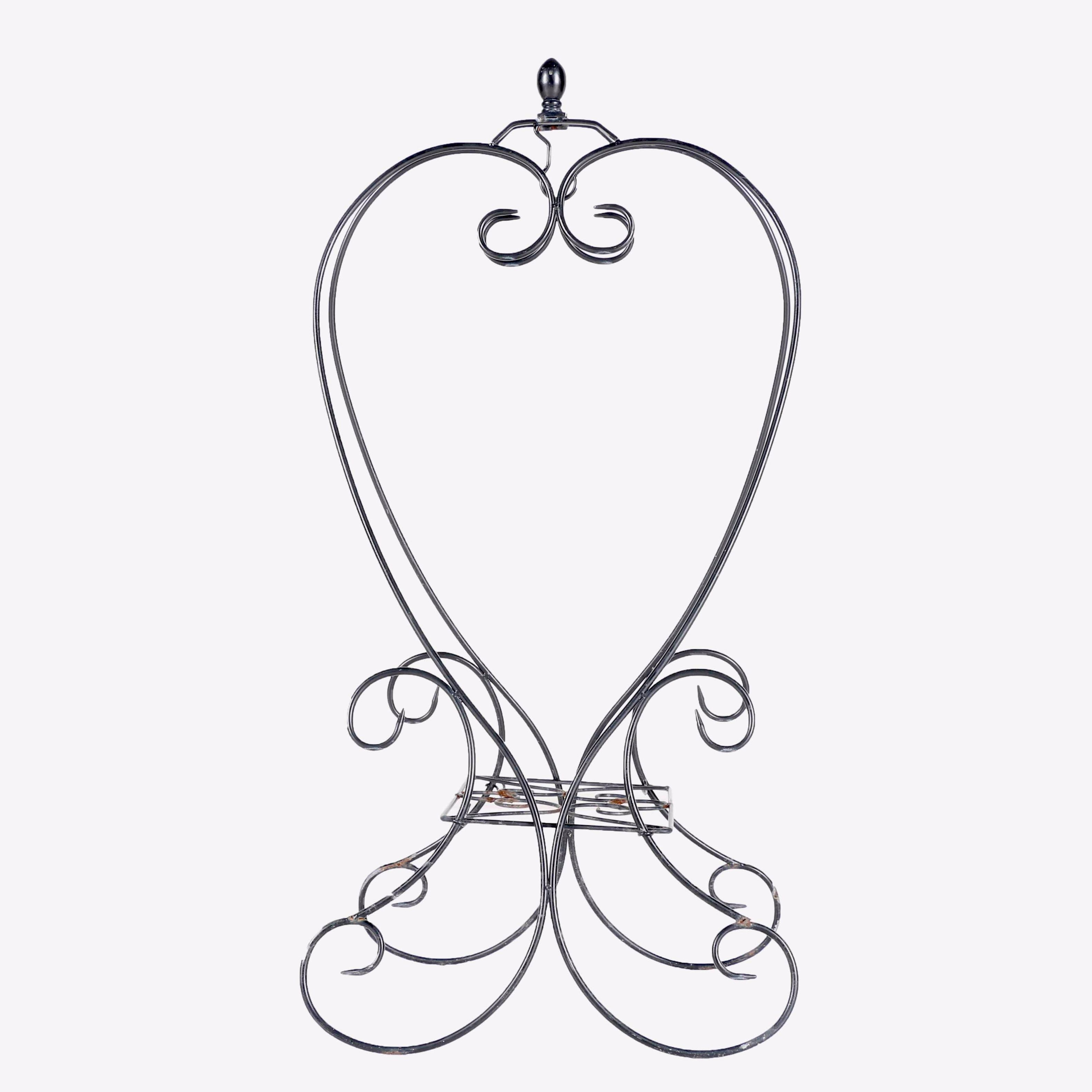 Ceramic Urns and Wrought Iron Hanging Plant Stand