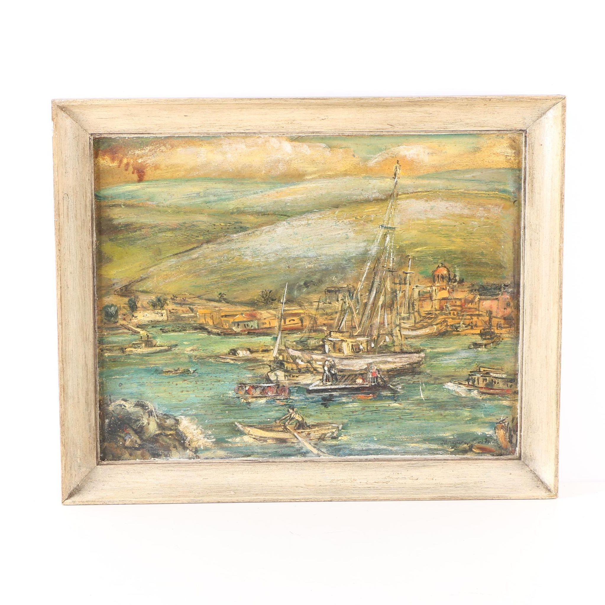 Oil Painting on Board of a Harbor Scene