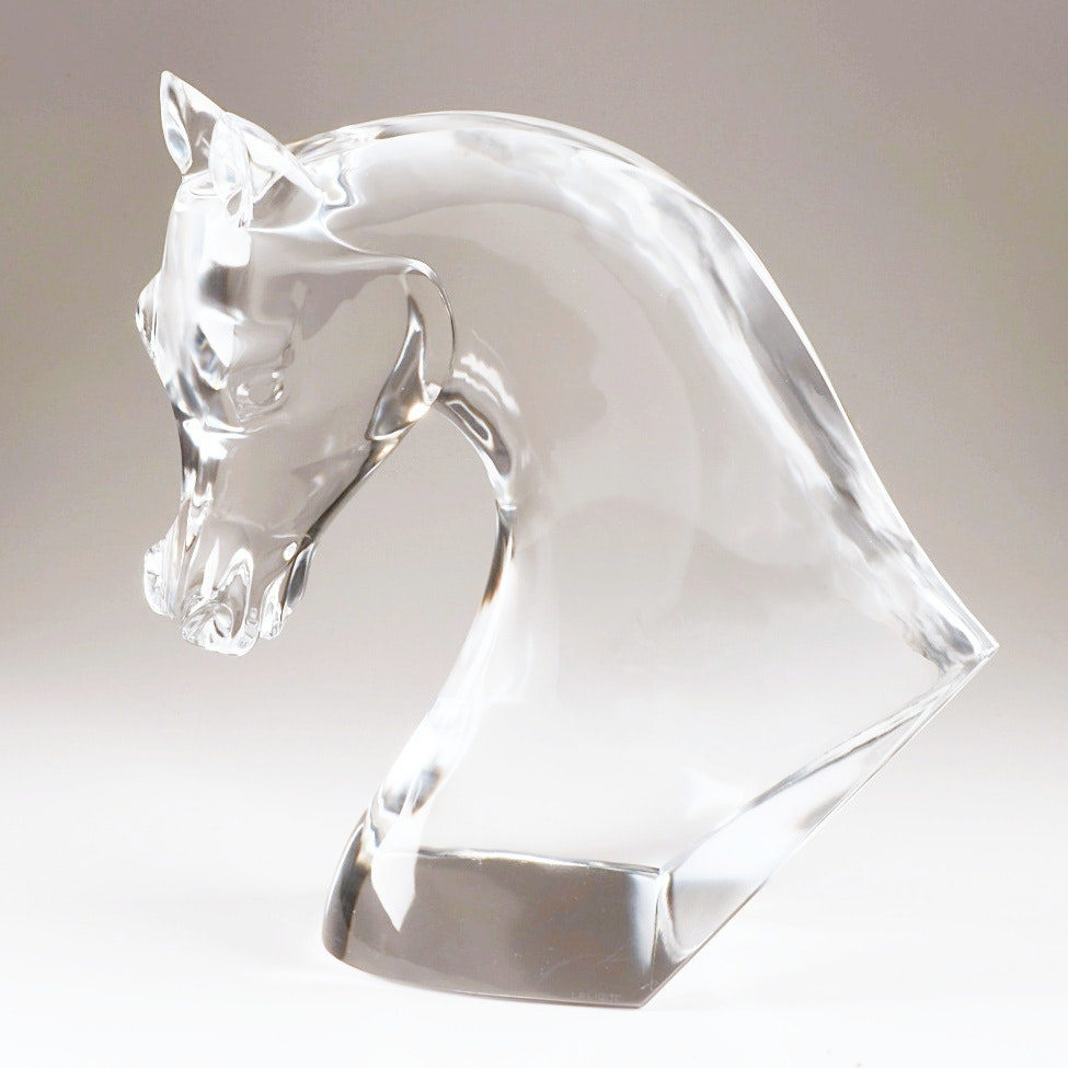 Exceptionally Large Lalique Horse Head Crystal Sculpture