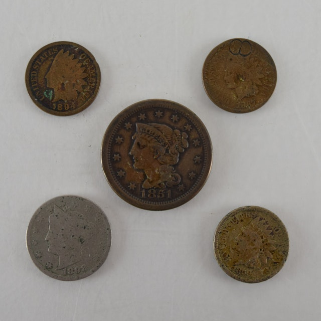 1851 Liberty Penny, 1859, 1867, 1894 Pennies and 1898 Nickel