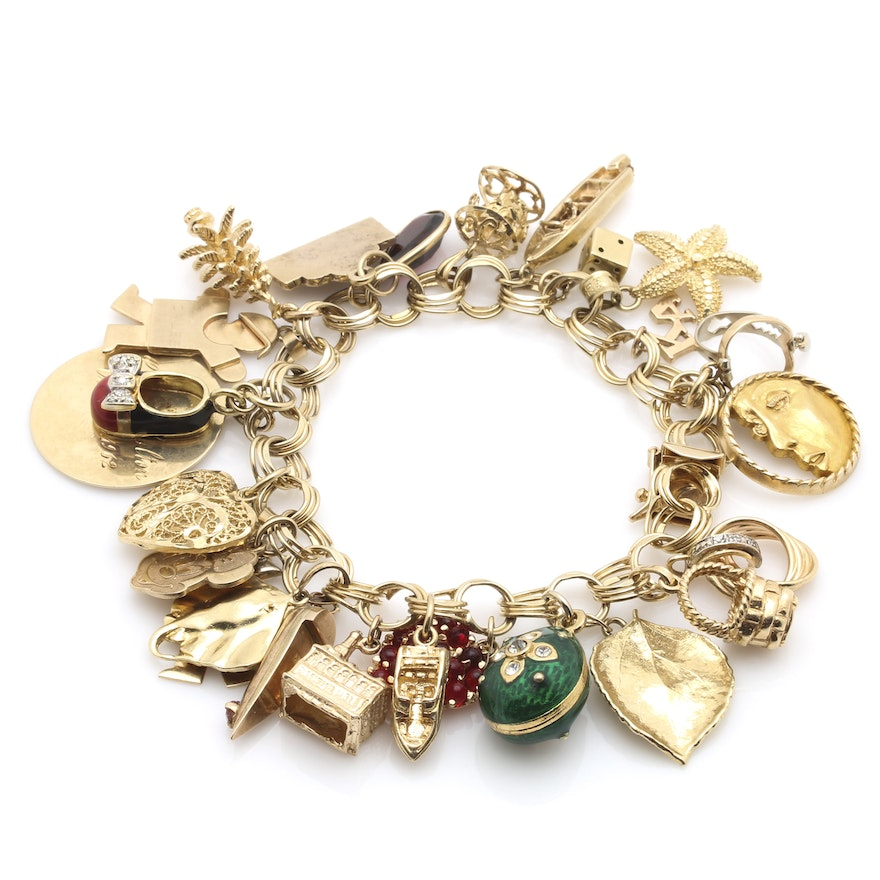bb9aaa56ec788 14K Yellow Gold Charm Bracelet Including 10K, 14K, 18K, Gold Filled Charms  and Gemstones