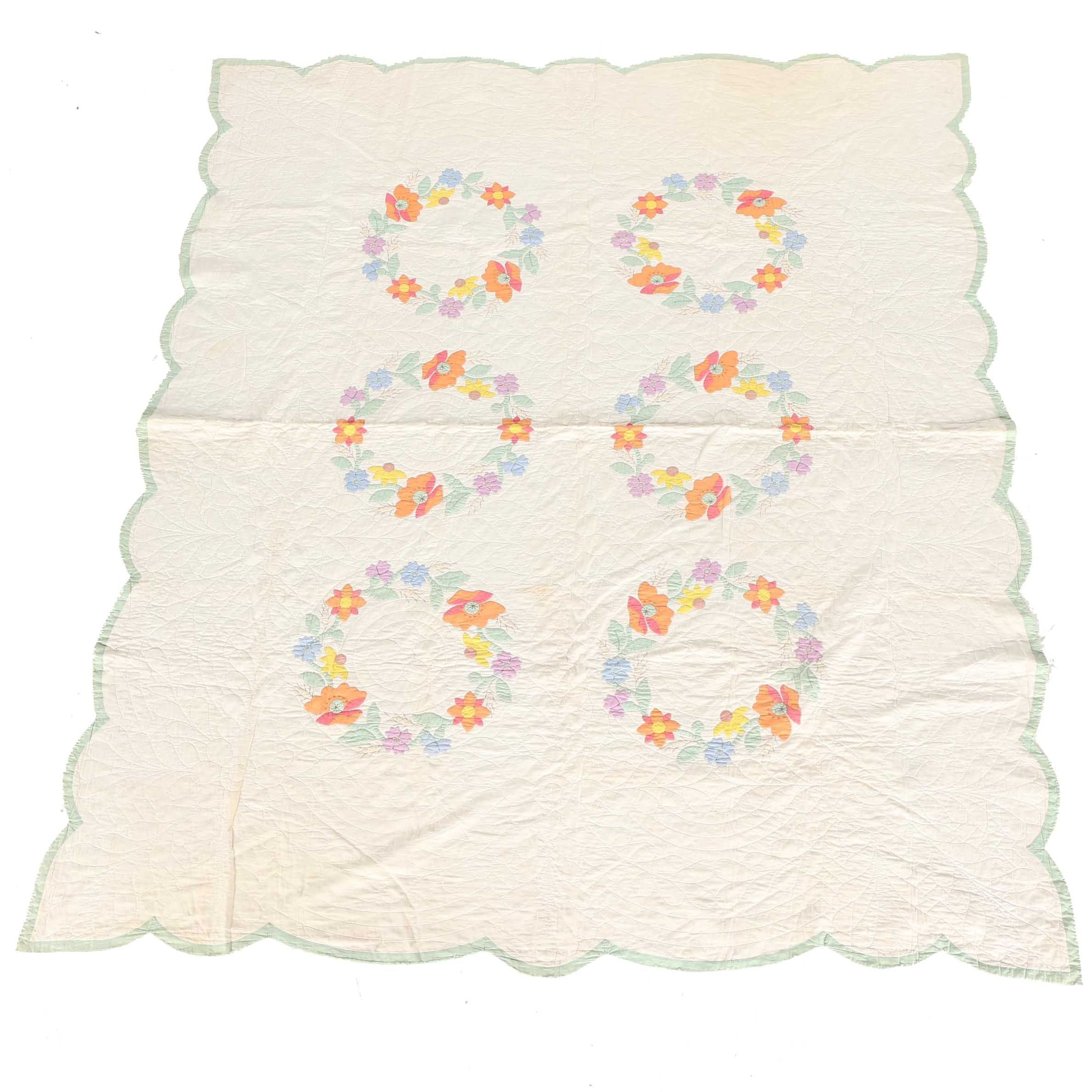 White Floral Ring Quilt