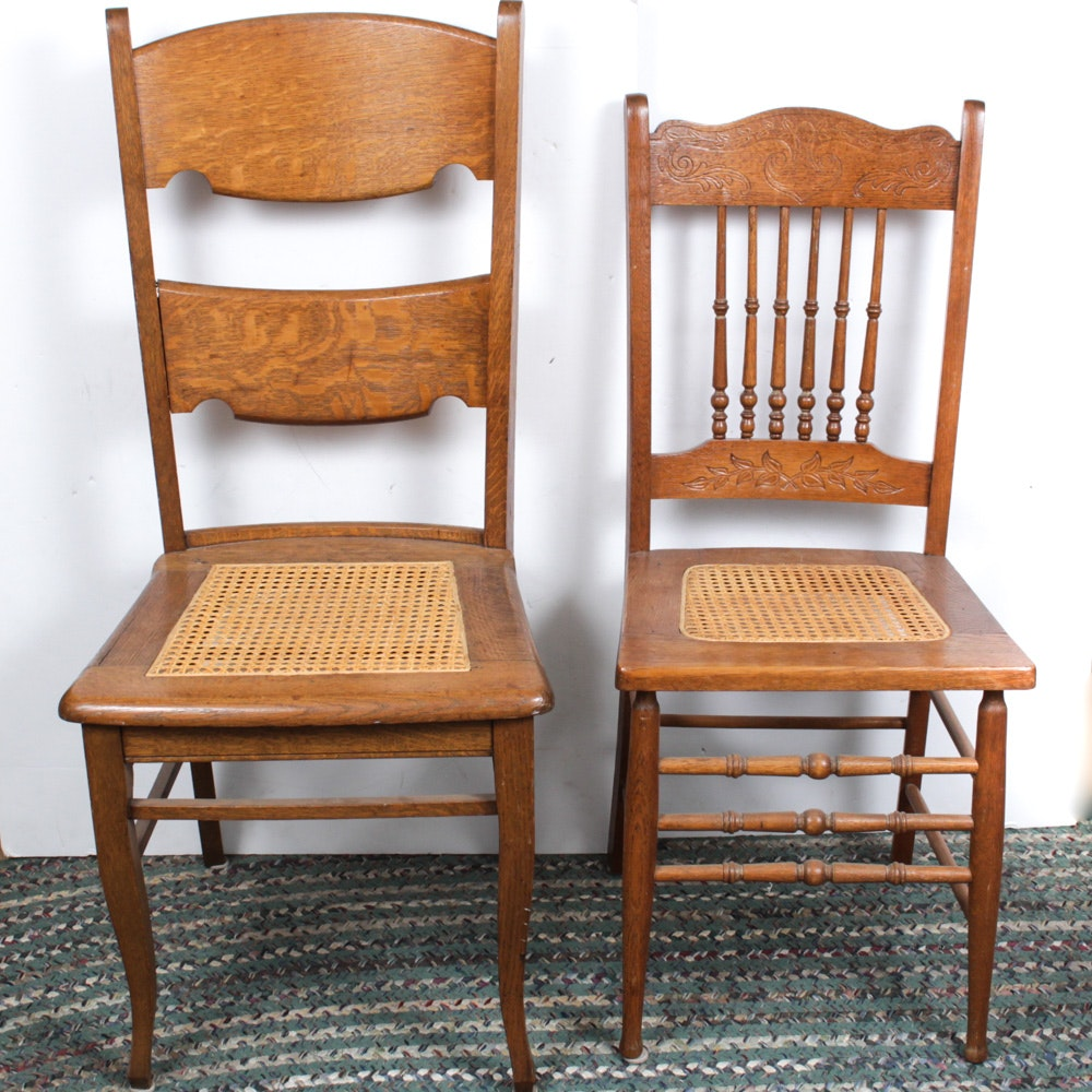 Pair of Solid Oak Cane Seat Chairs