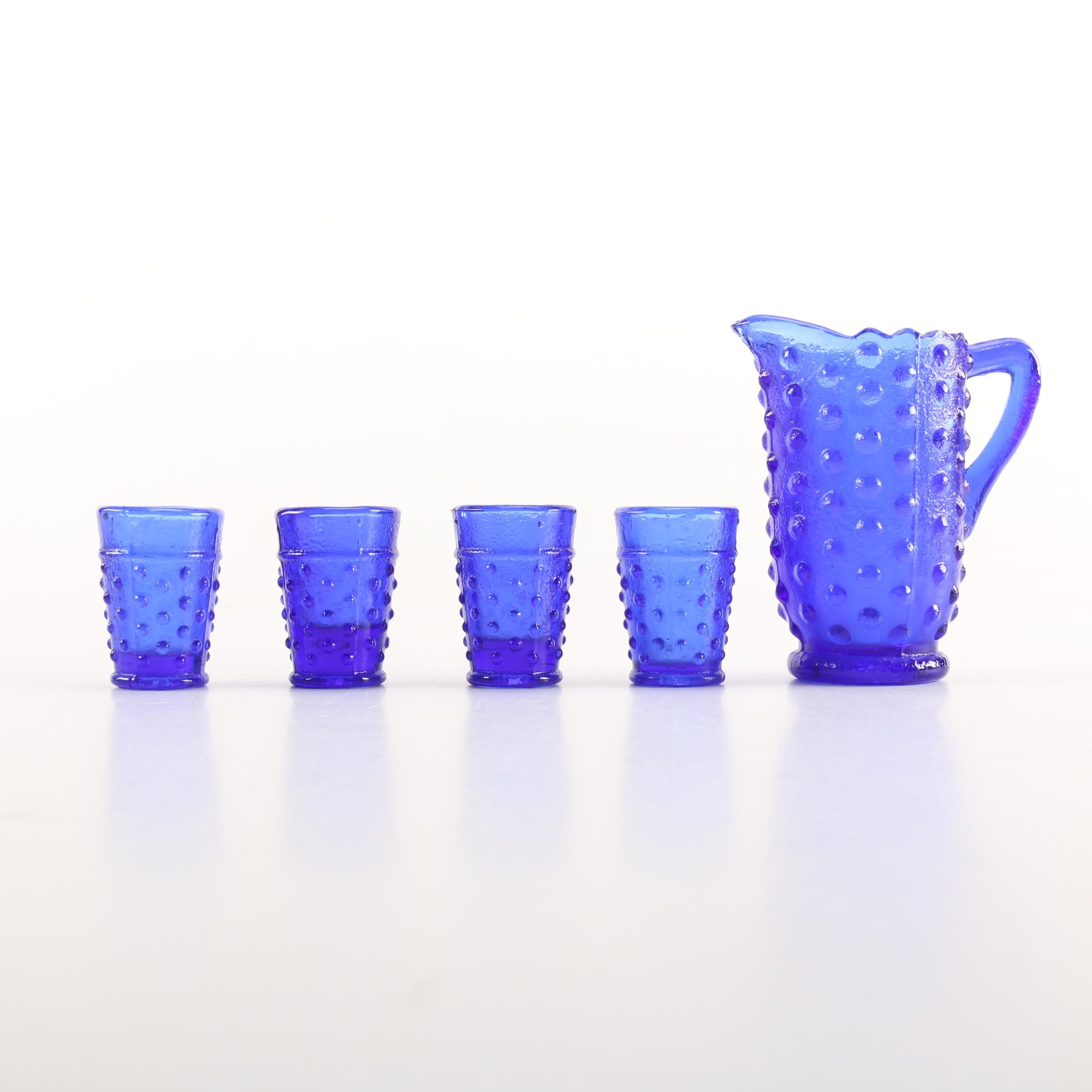 Blue Glass Juice Glasses and Pitcher