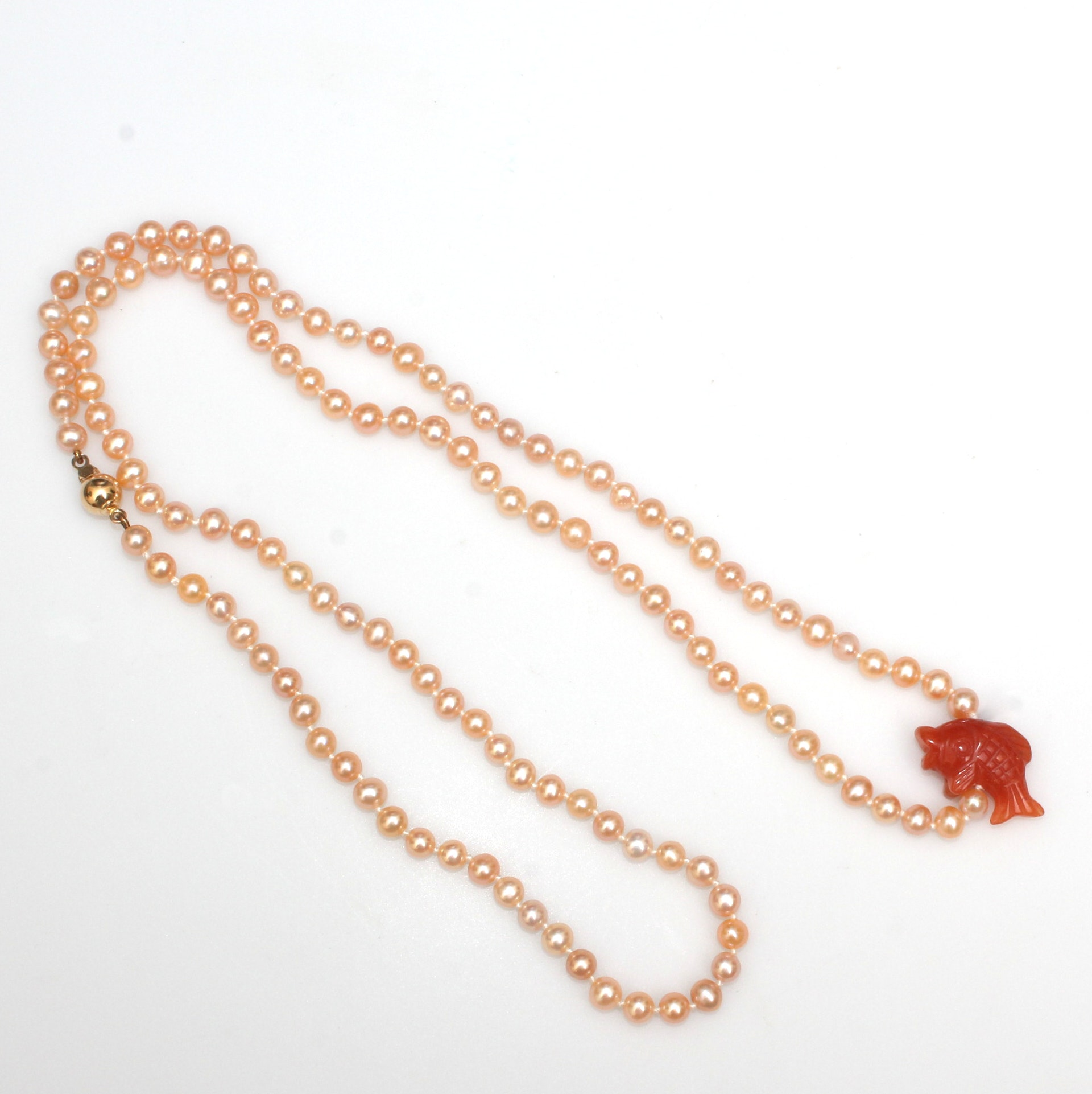 Freshwater Pearl Necklace With Carved Aventurine Fish