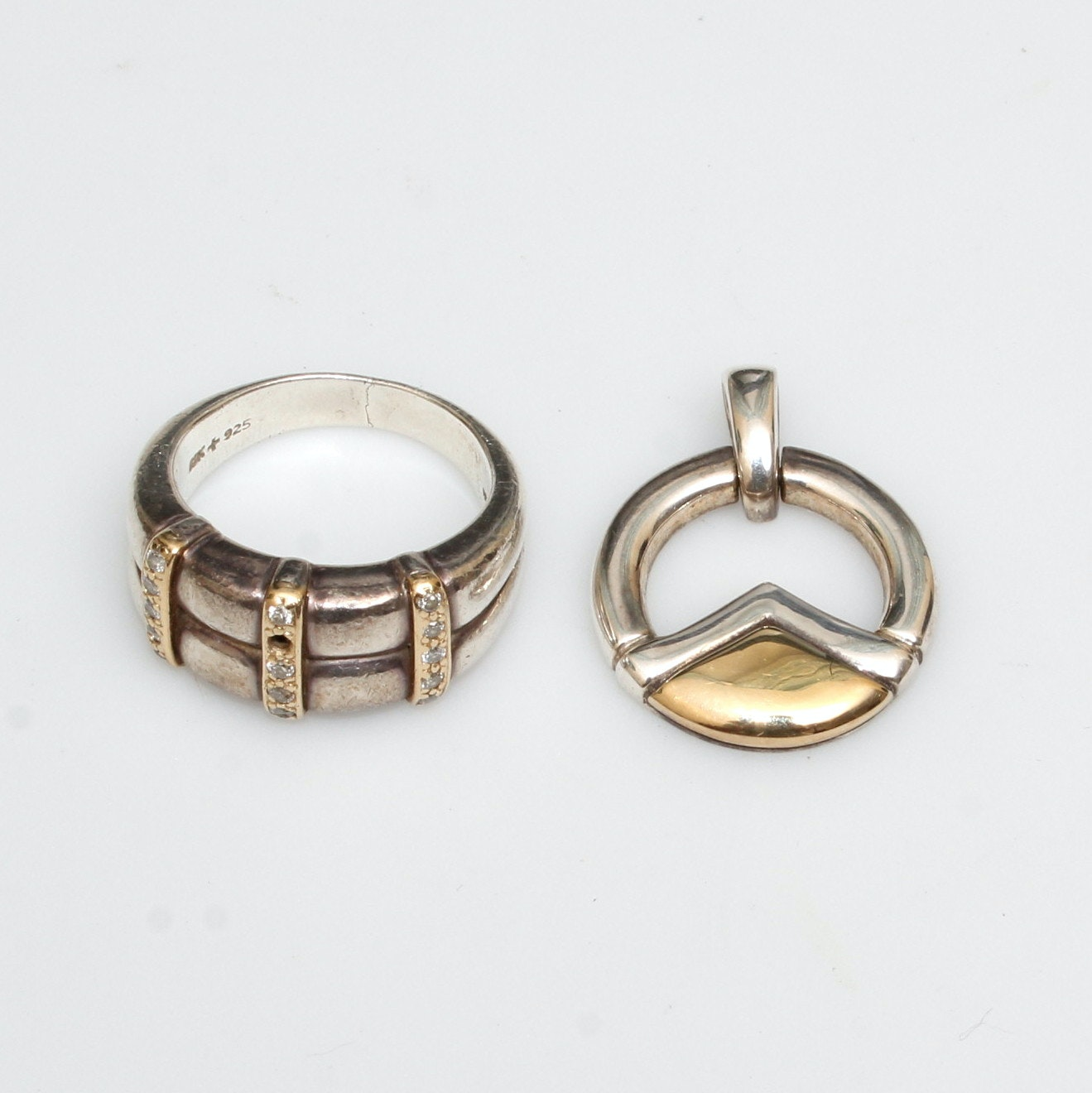 Lorenzo Sterling Ring and Pendant with 18K Gold Details