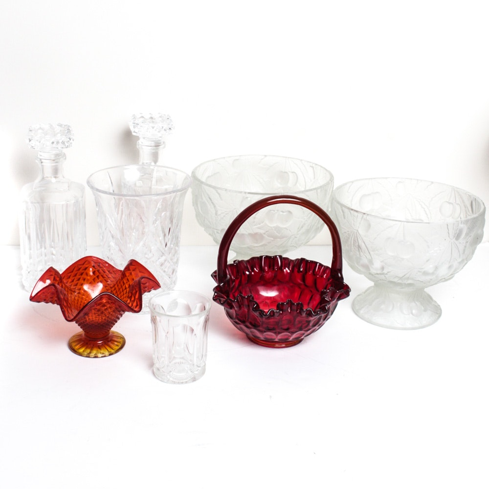Amberina Glass Candy Dish and Collection of Glassware