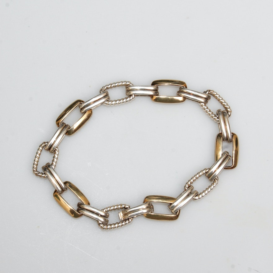 Lorenzo Sterling And 18k Gold Link Bracelet