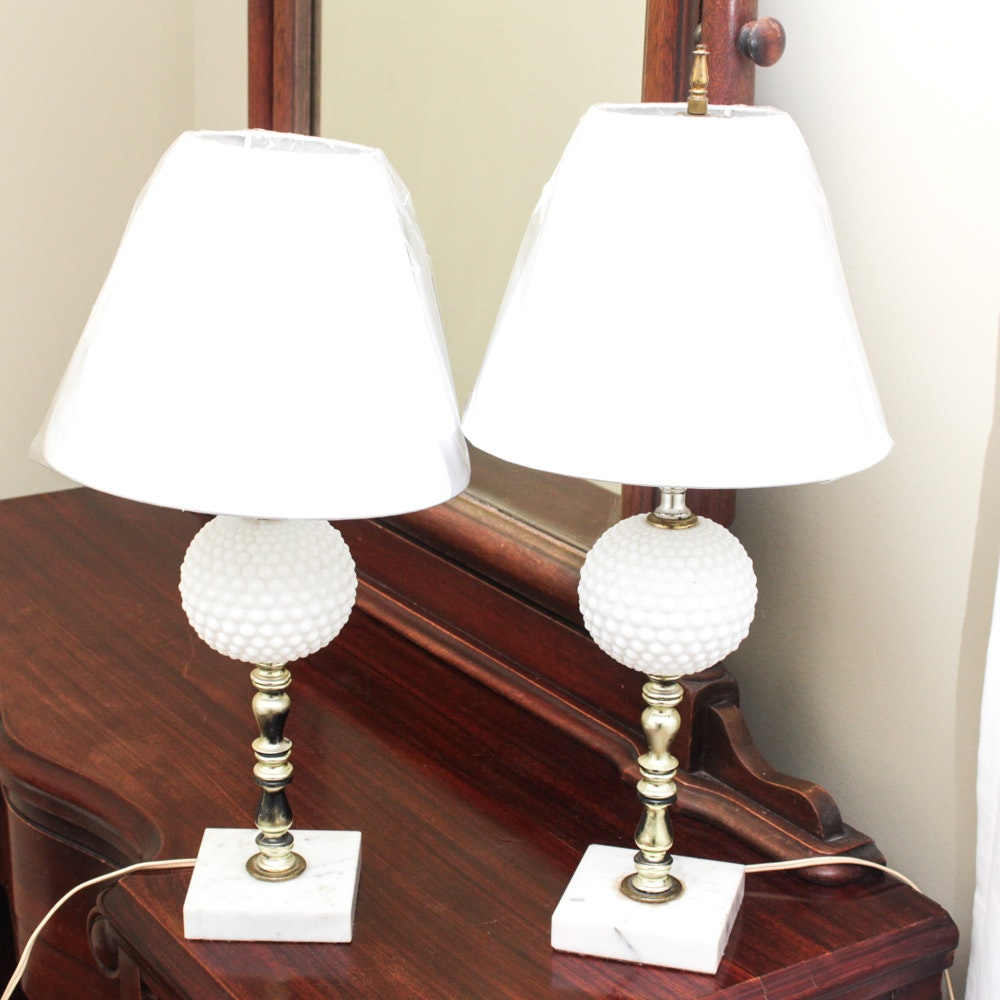 Hobnail Milk Glass Lamps