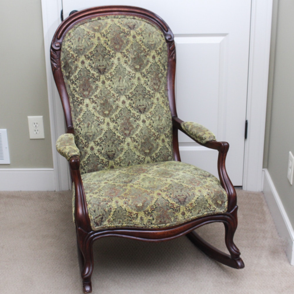 Upholstered Wooden Rocking Chair