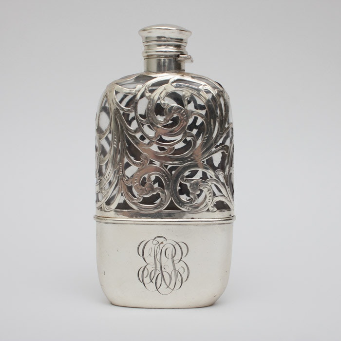 Shreve, Crump & Low Co. Sterling Silver and Glass Flask