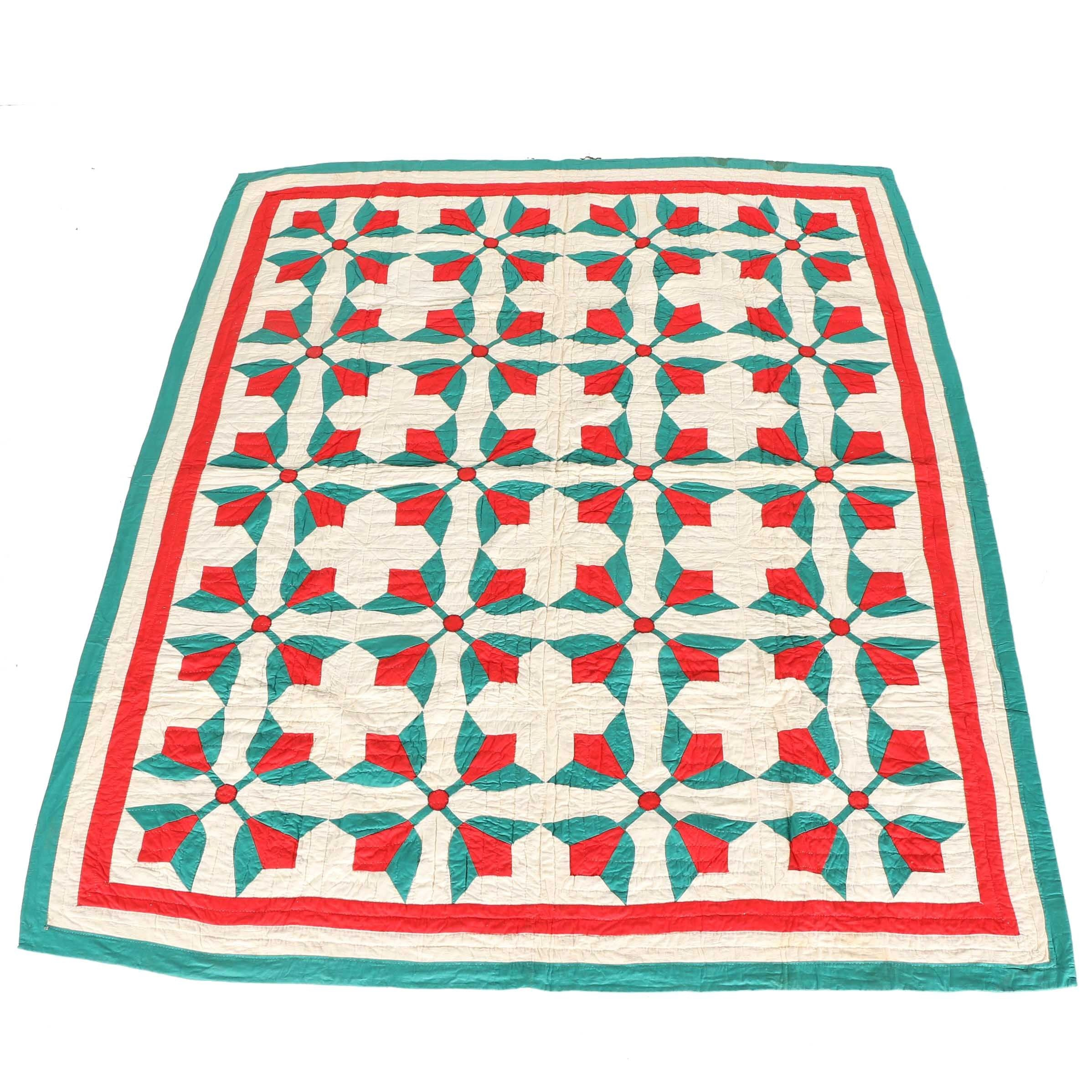 Green and Red Floral Quilt
