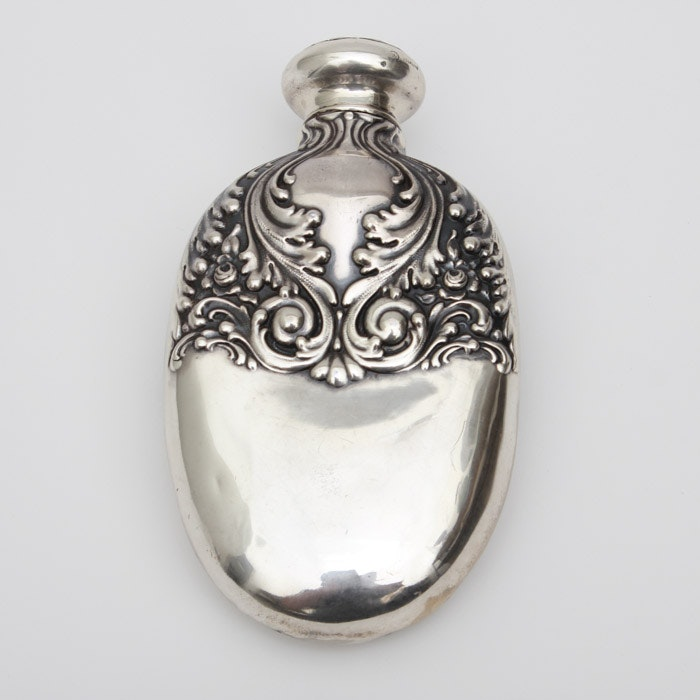 Sterling Silver Flask with Raised Scroll Design