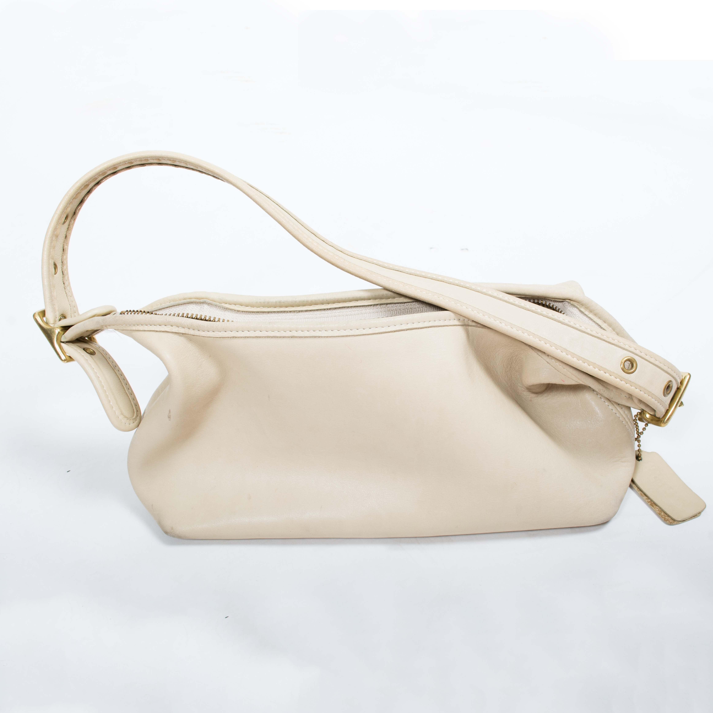 Coach Cream Leather Hobo Shoulder Bag