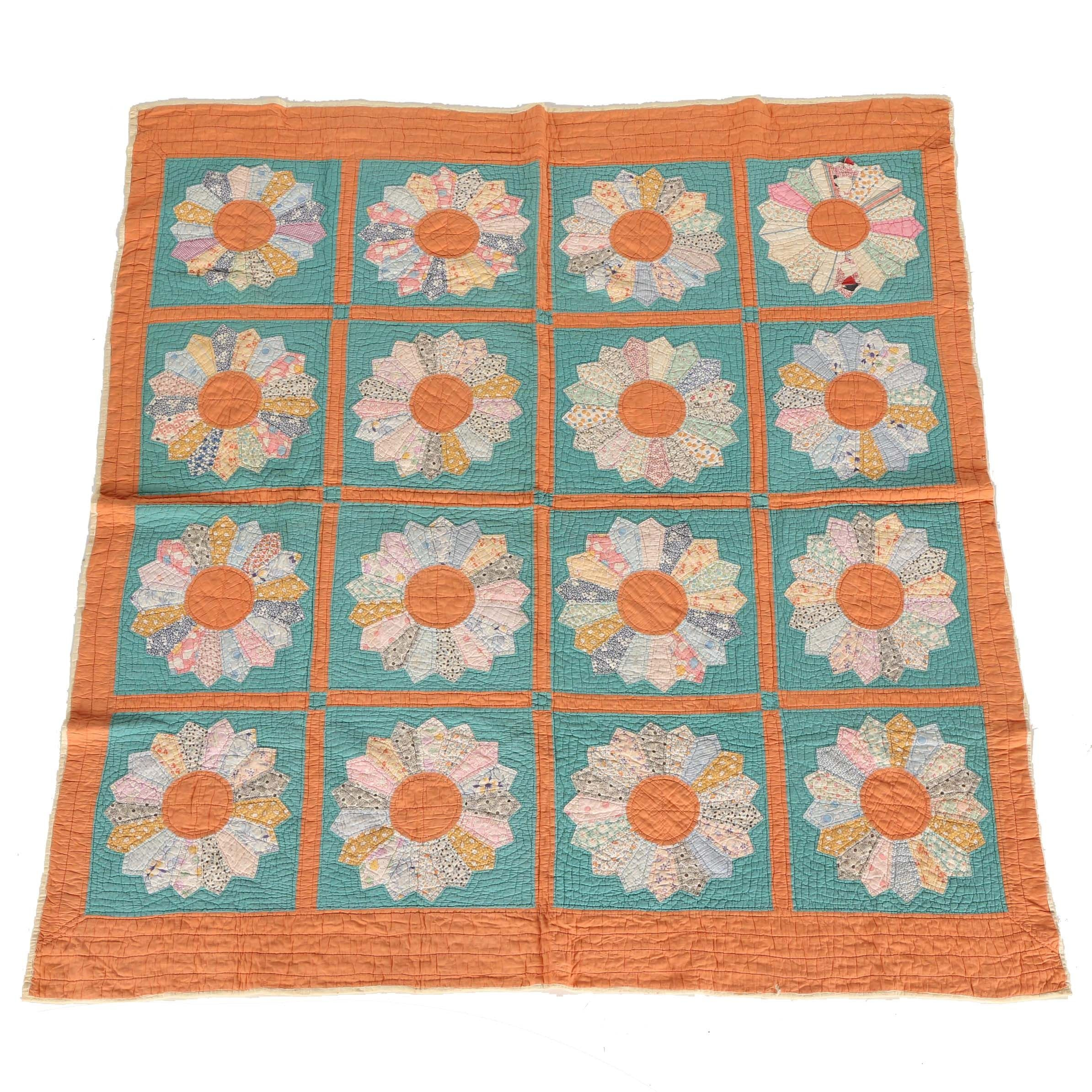 Handmade Floral Patterned Quilt