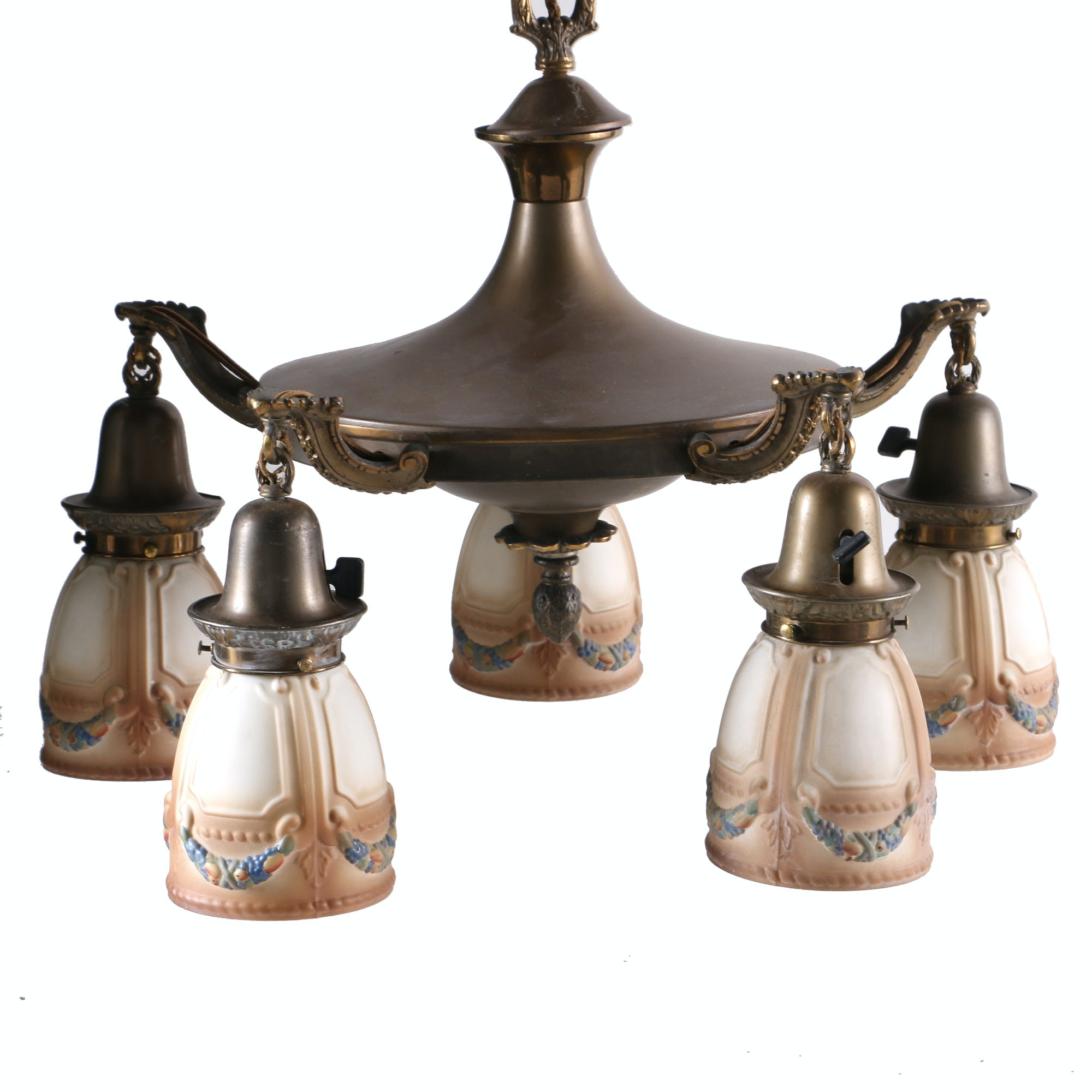 Vintage Five Arm Bryant Chandelier With Painted Glass Shades