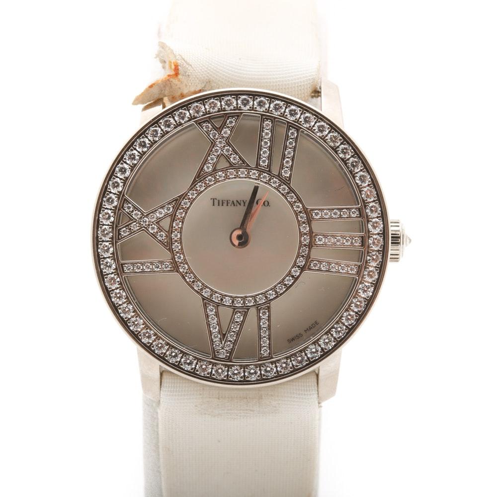 "Tiffany & Co. 18K White Gold 0.90 CTW Diamond ""Atlas"" Cocktail Wristwatch"