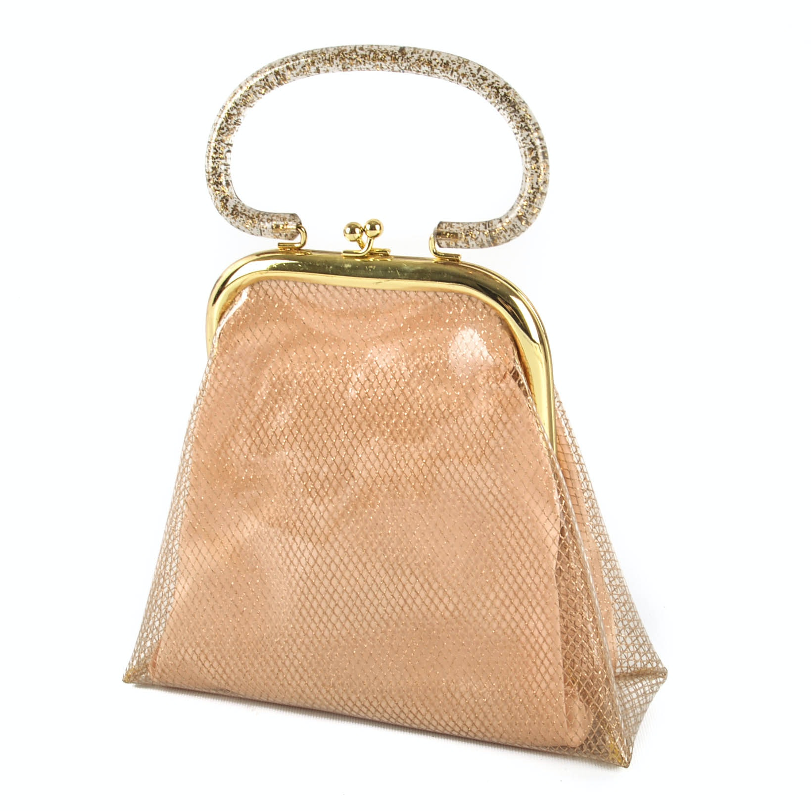1950s Vinyl and Gold Fishnet Purse With Glittered Acrylic Handle and Accessories
